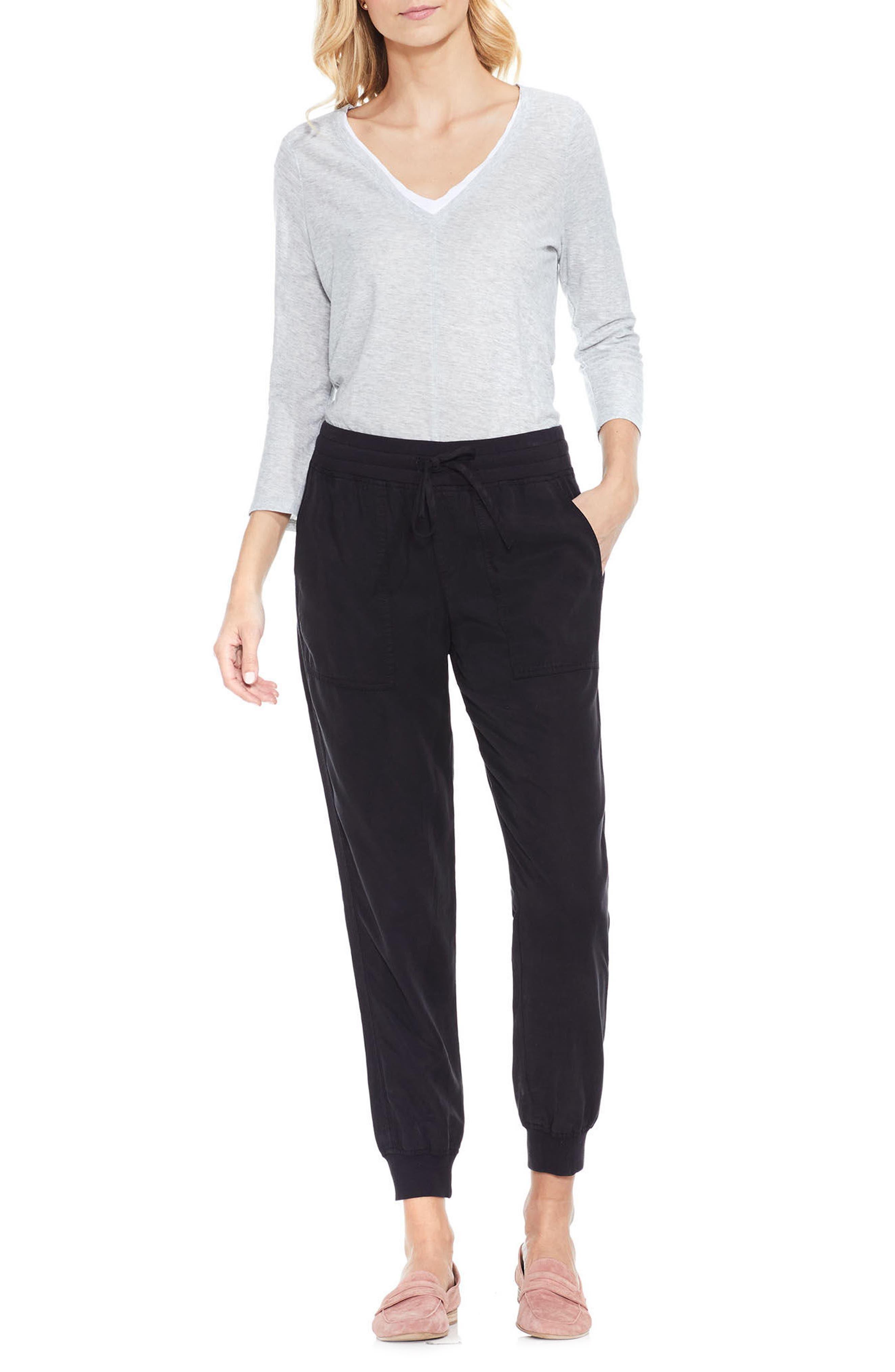 Twill Jogger Pants,                         Main,                         color, RICH BLACK