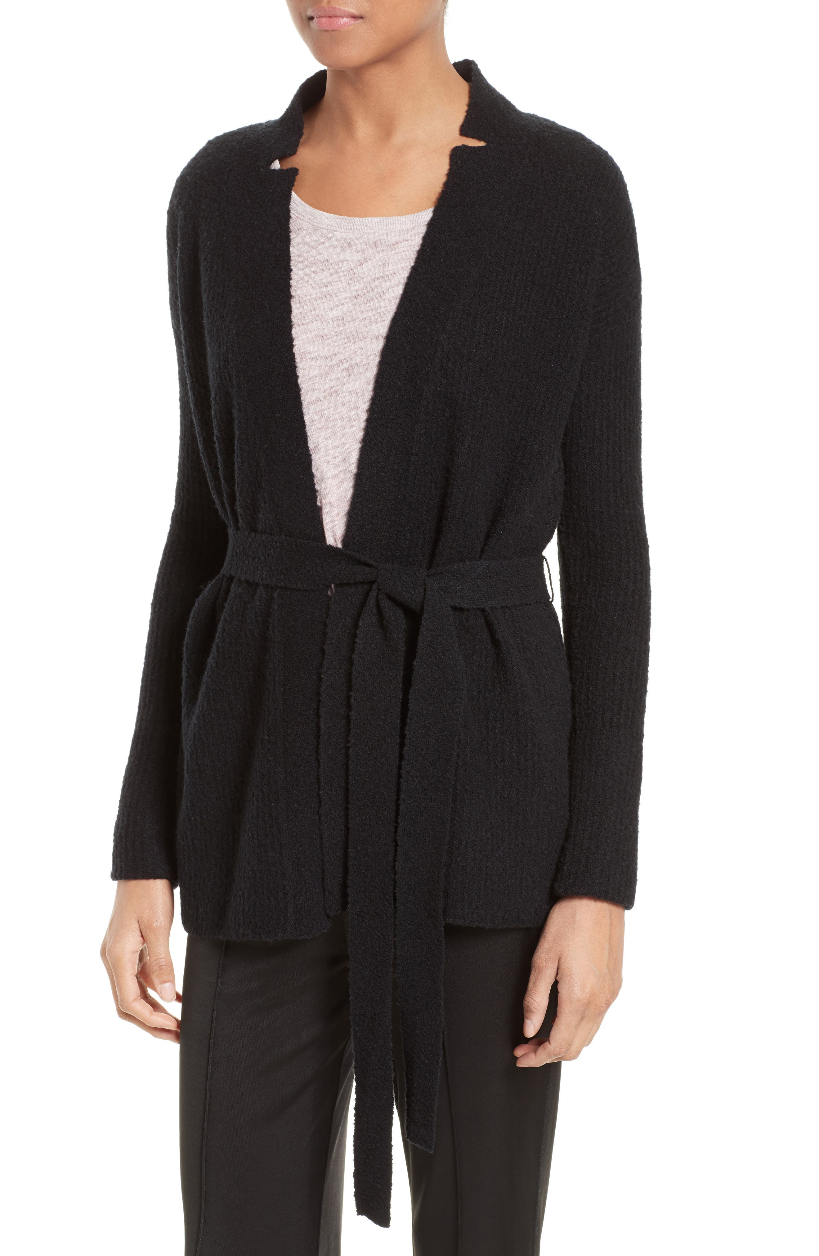 Wool Blend Belted Cardigan,                             Alternate thumbnail 4, color,                             001