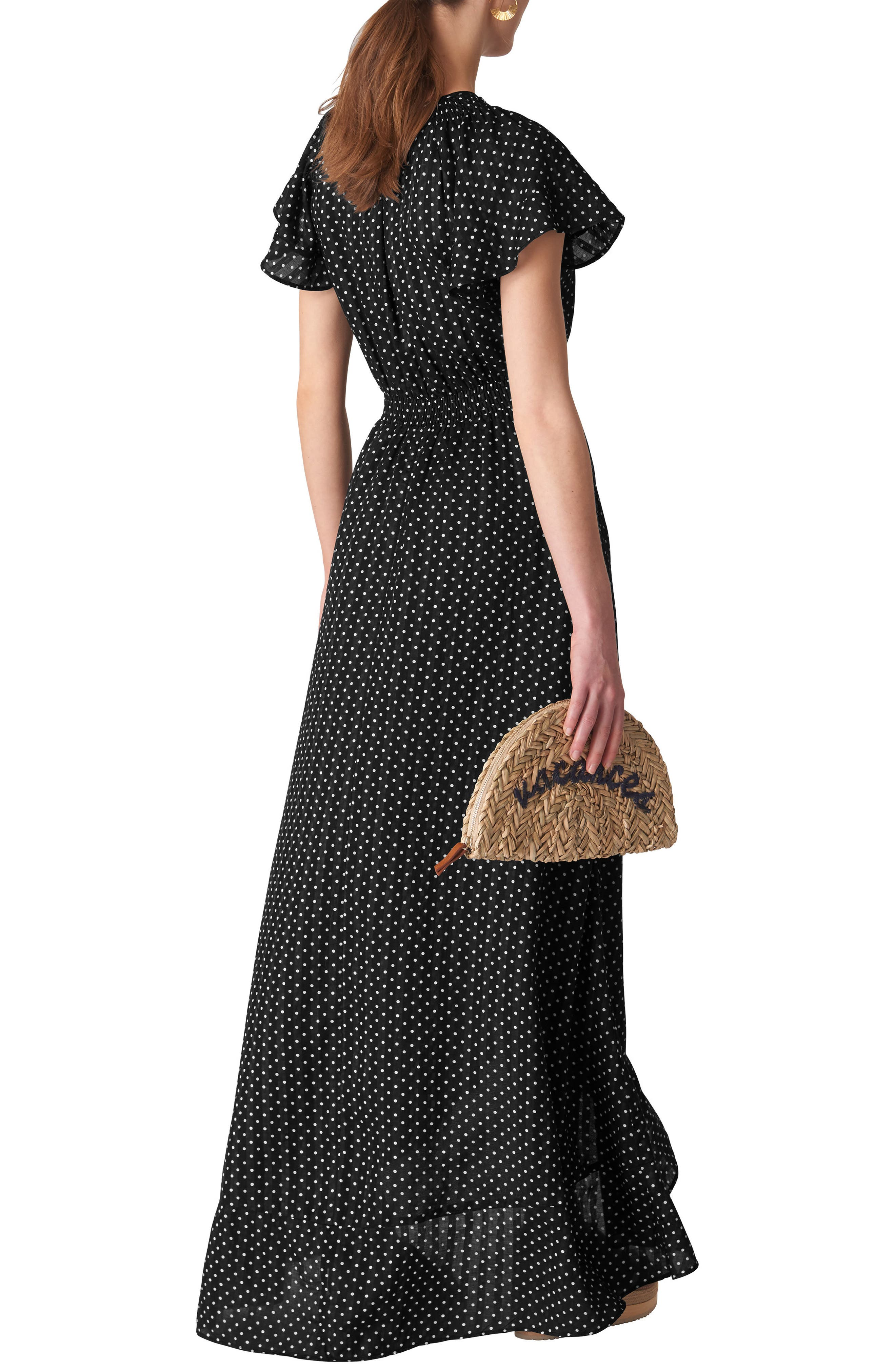 Spot Maxi Wrap Dress,                             Alternate thumbnail 2, color,                             BLACK/ WHITE