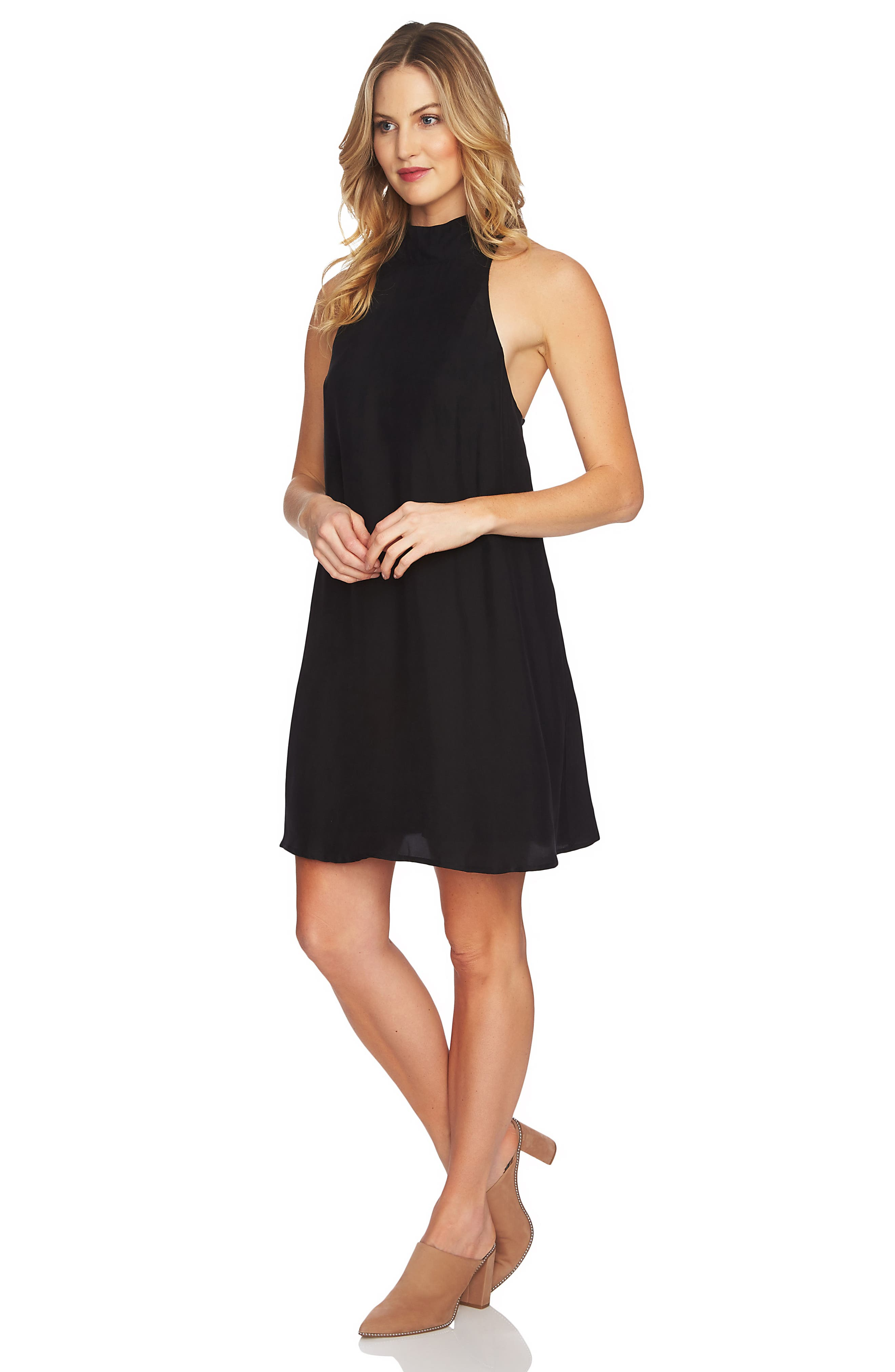 Mock Neck Shift Dress,                             Alternate thumbnail 3, color,                             RICH BLACK