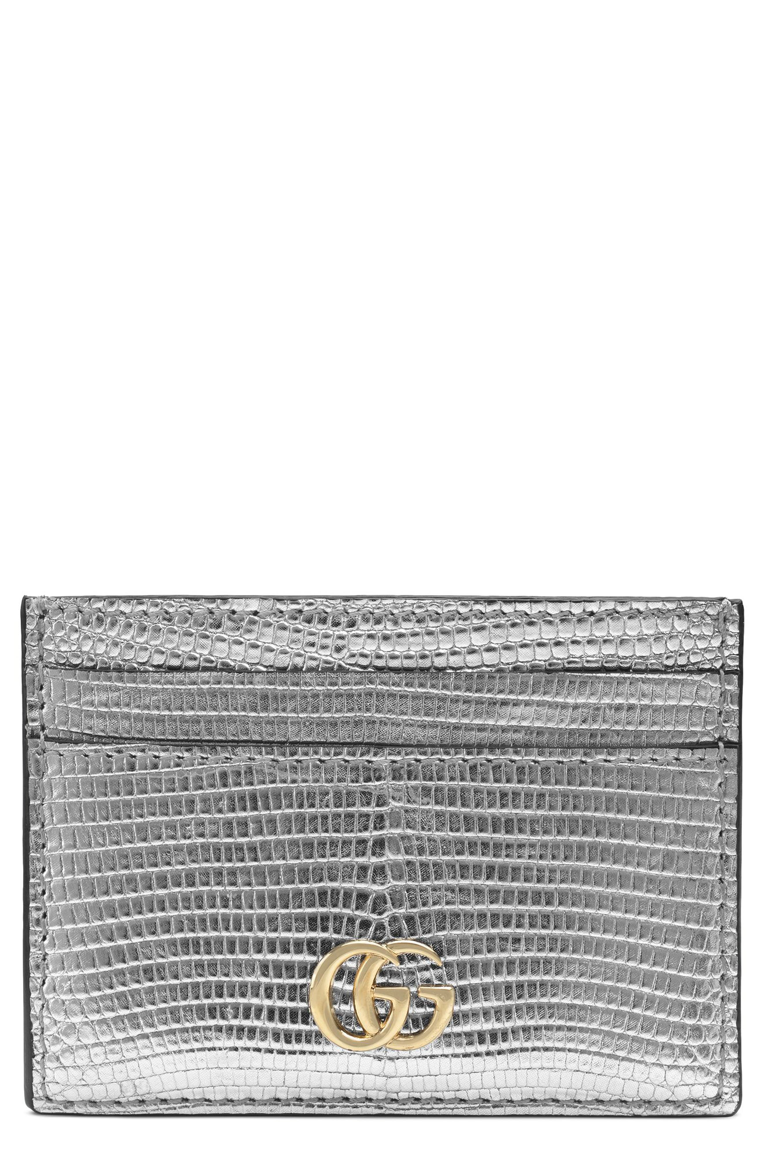 Petite Marmont Genuine Lizardskin Card Case,                             Main thumbnail 1, color,                             ARGENTO