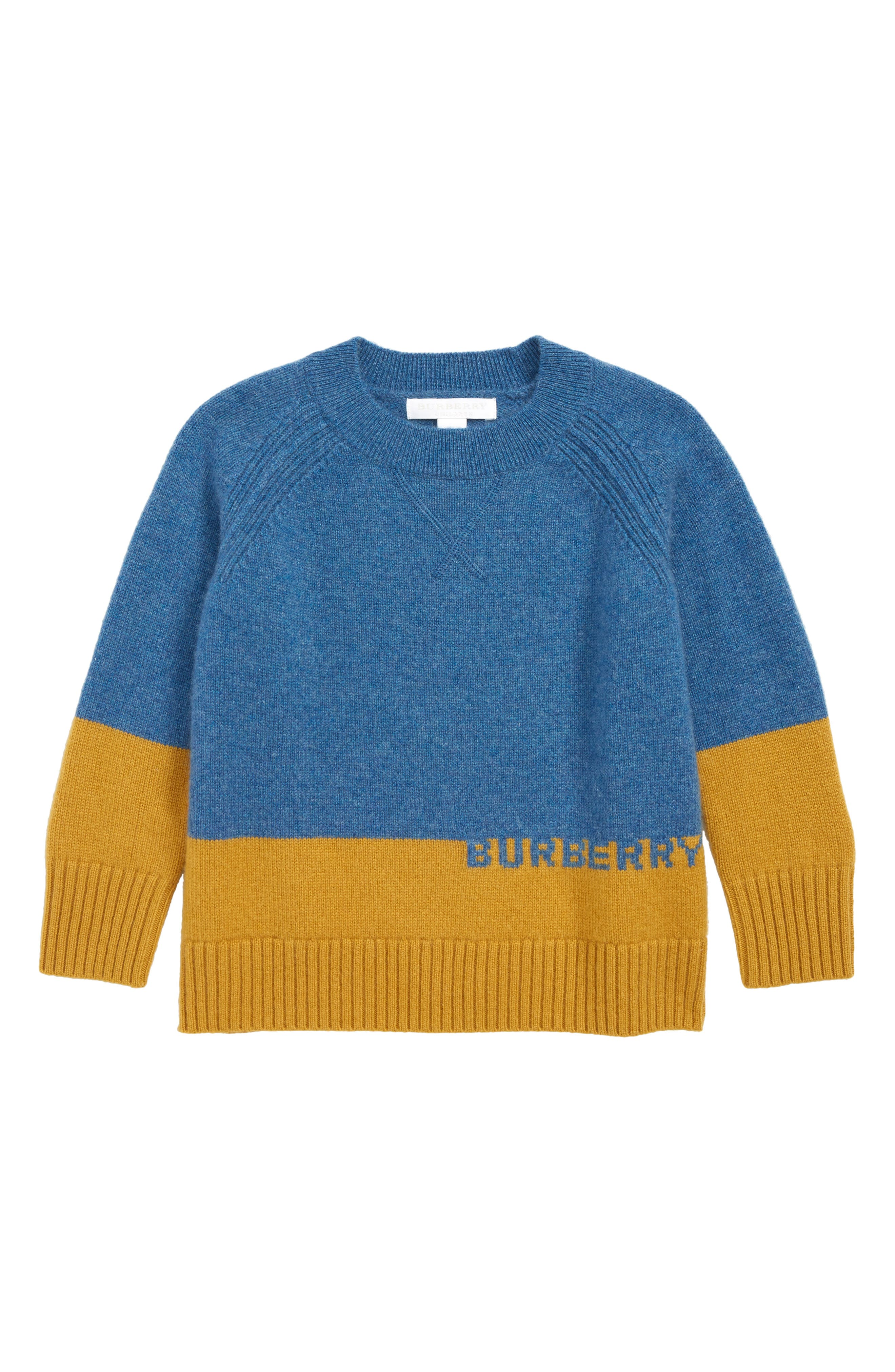 Boys Burberry Alister Cashmere Sweater Size 8Y  Blue