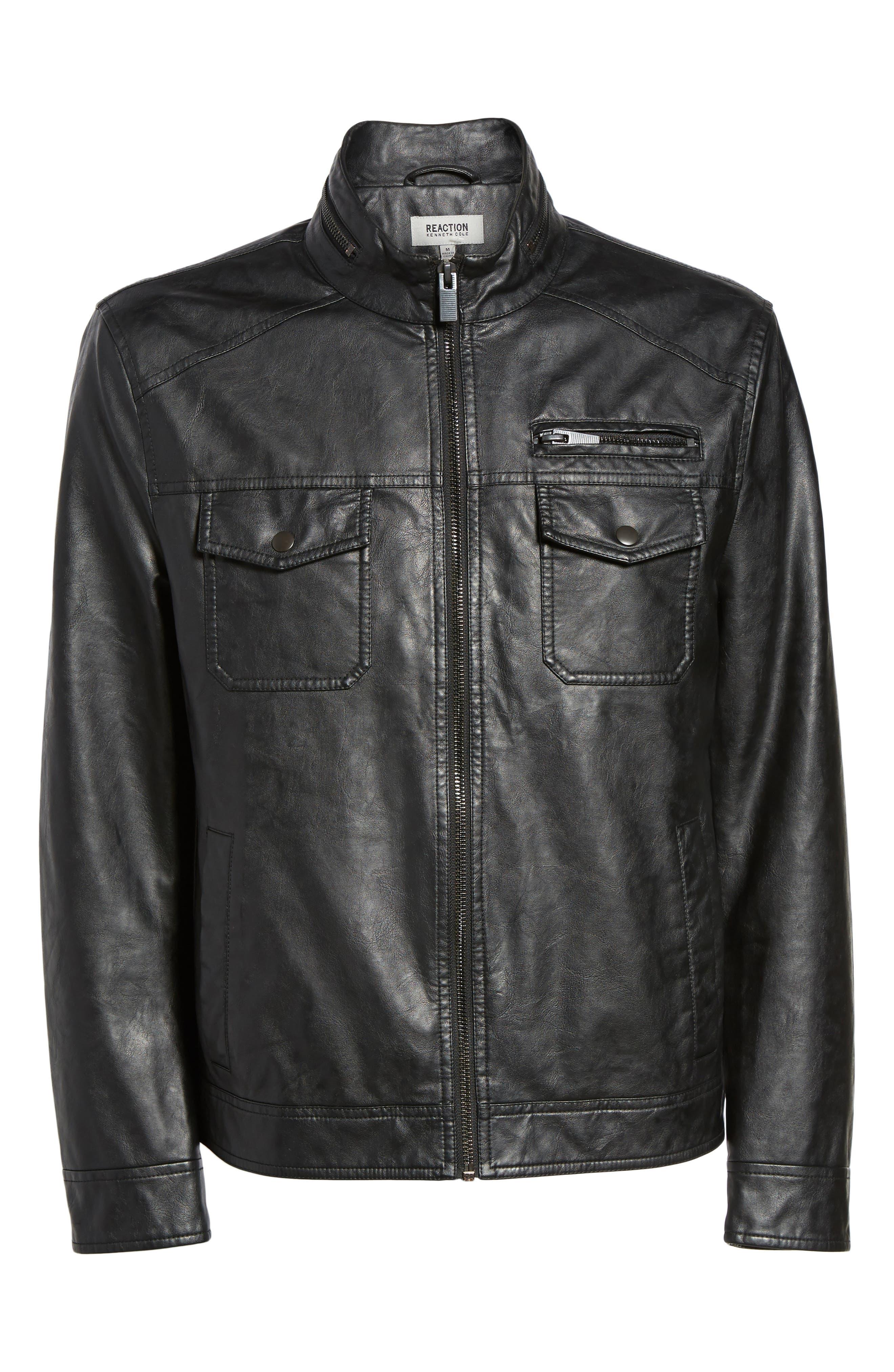 Faux Leather Jacket,                             Alternate thumbnail 5, color,                             001