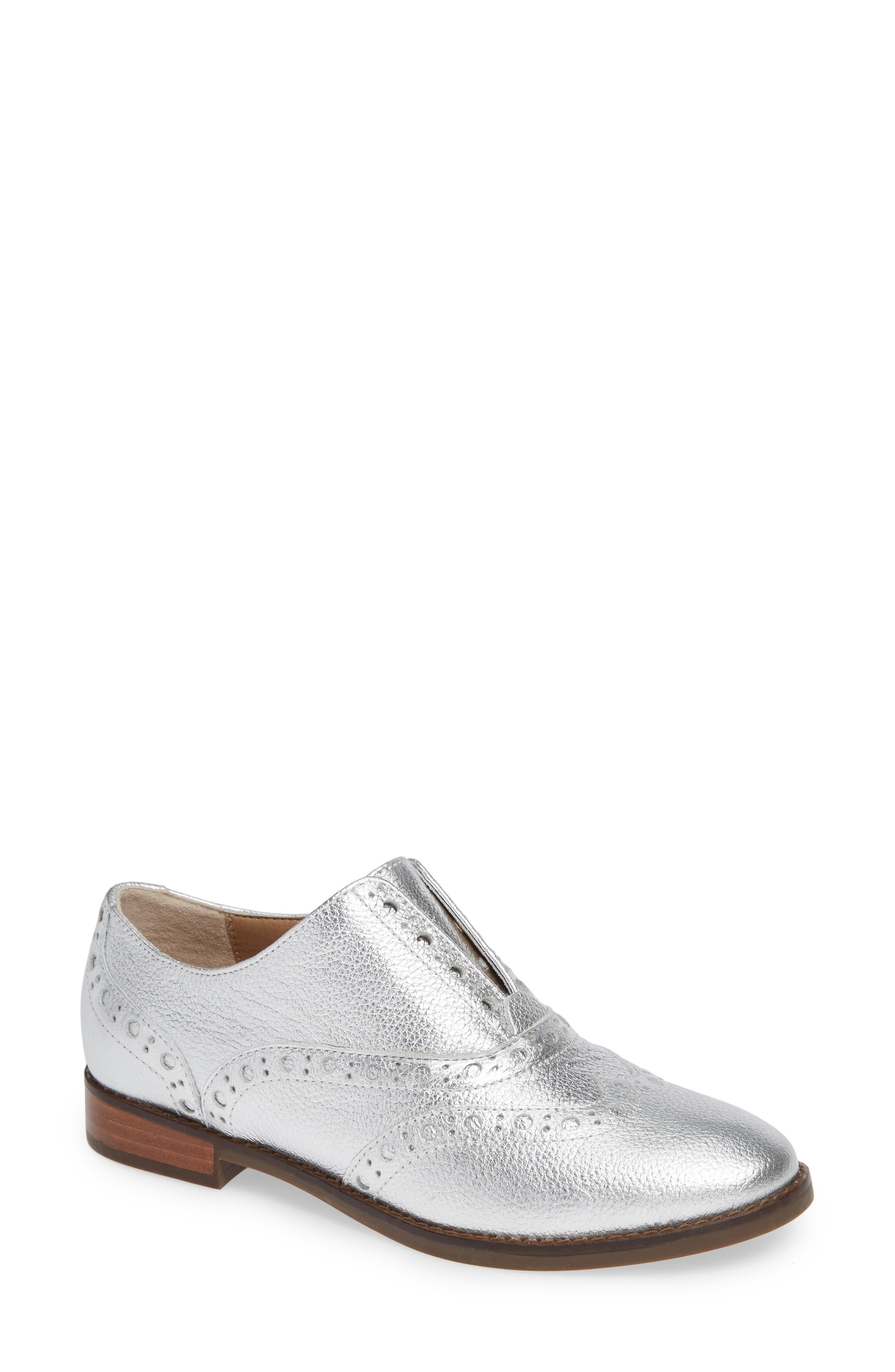Hadley Wingtip,                             Main thumbnail 1, color,                             SILVER LEATHER