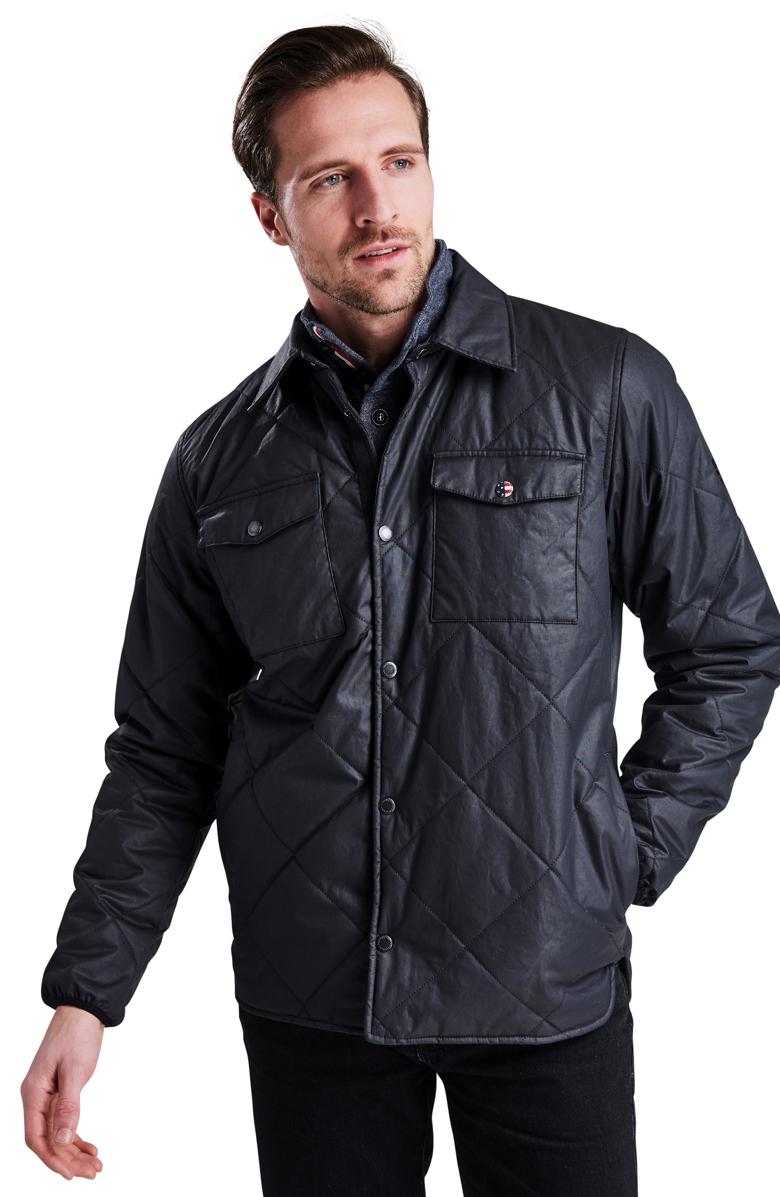 International Sonoran Quilted Shirt Jacket,                             Alternate thumbnail 7, color,                             BLACK