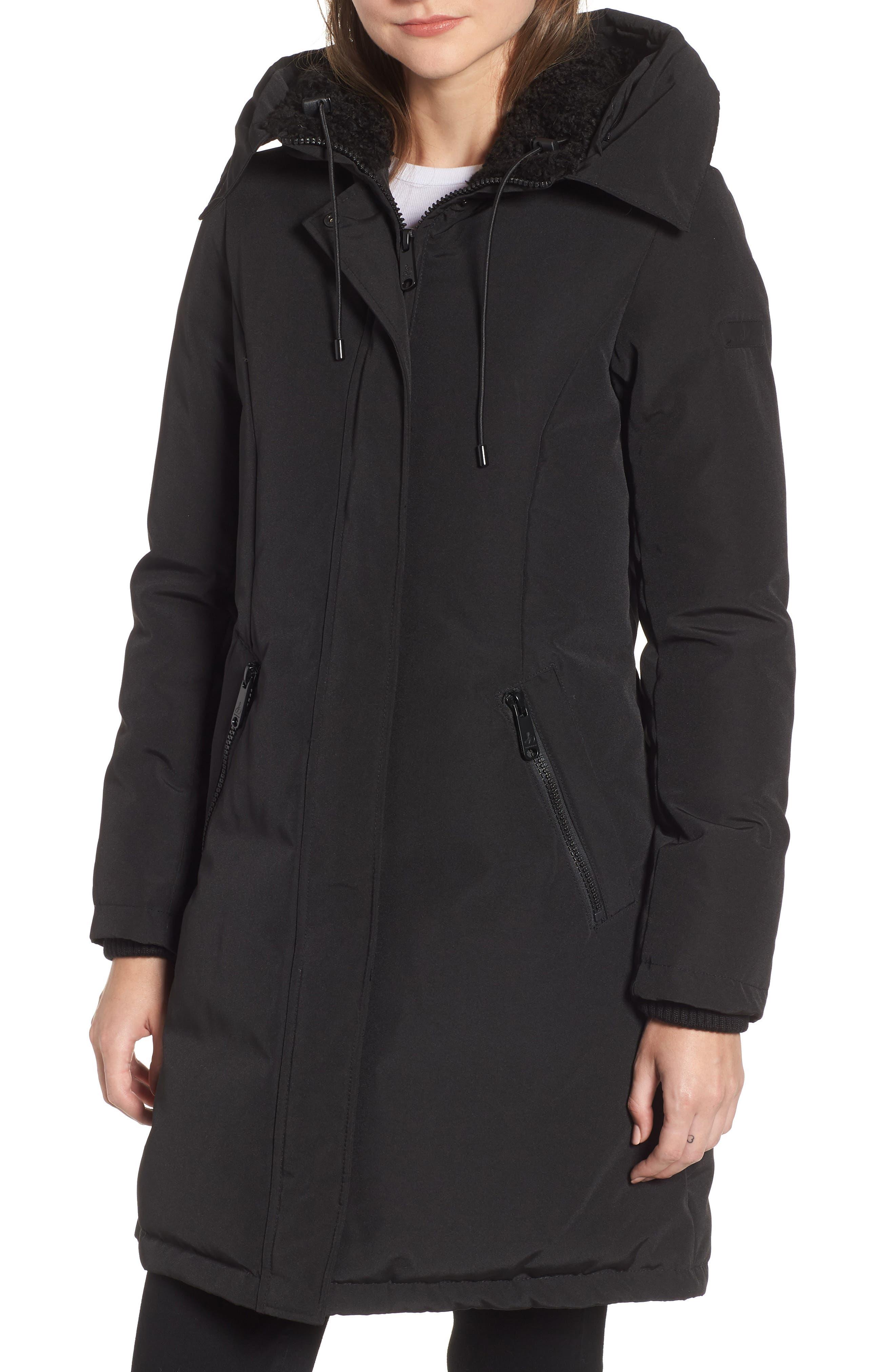 Faux Fur Trim Down Jacket,                             Alternate thumbnail 4, color,                             BLACK