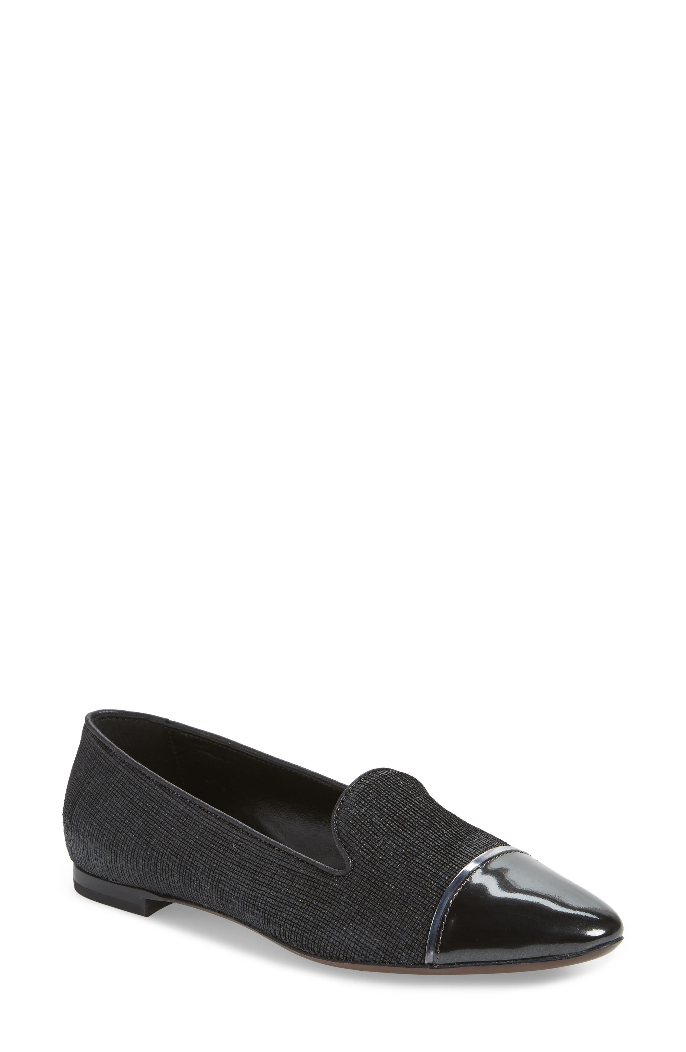 Cap Toe Loafer,                         Main,                         color, BLACK FLAKED LEATHER