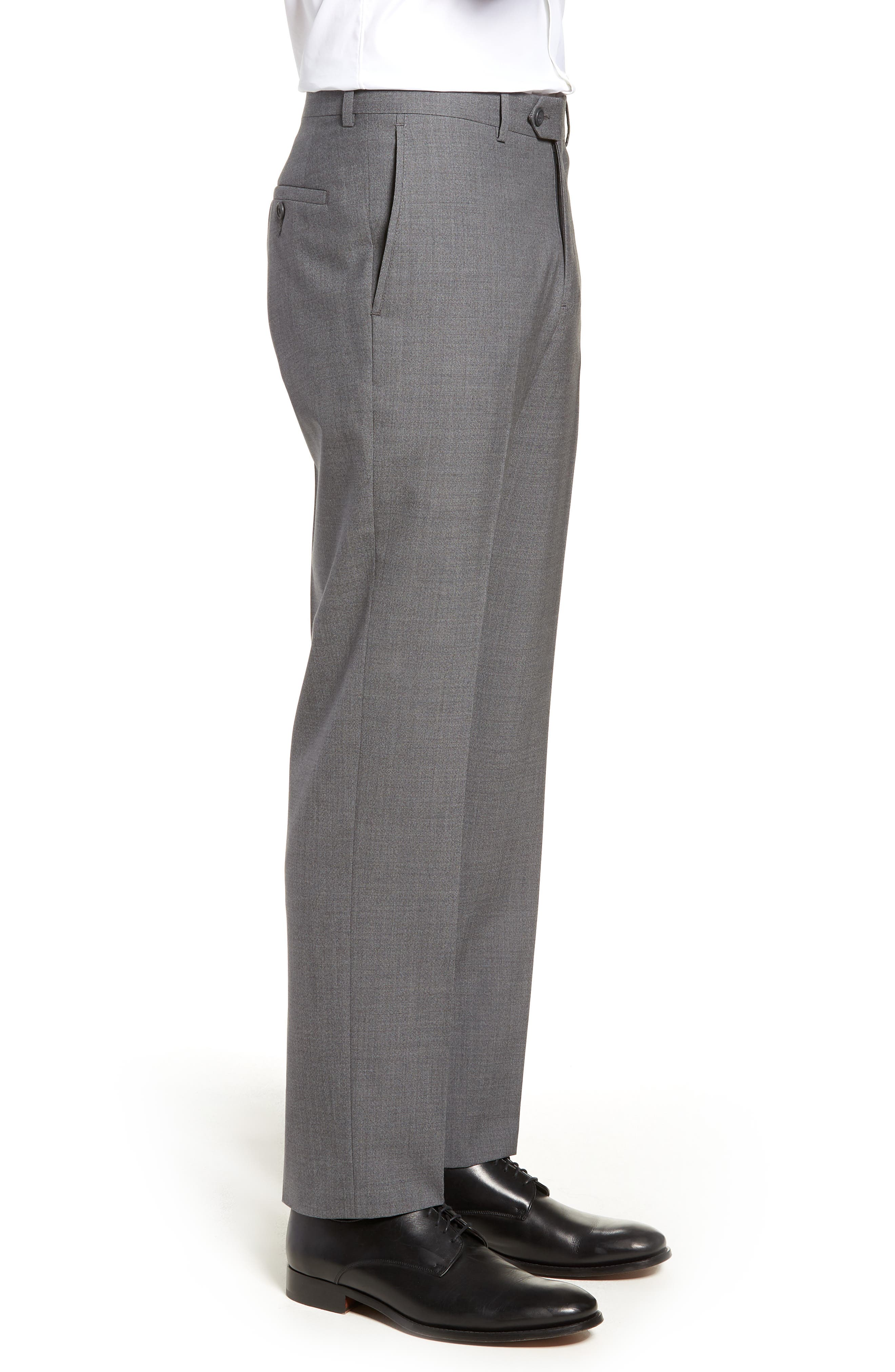 Trim Fit Flat Front Wool Trousers,                             Alternate thumbnail 3, color,                             GREY