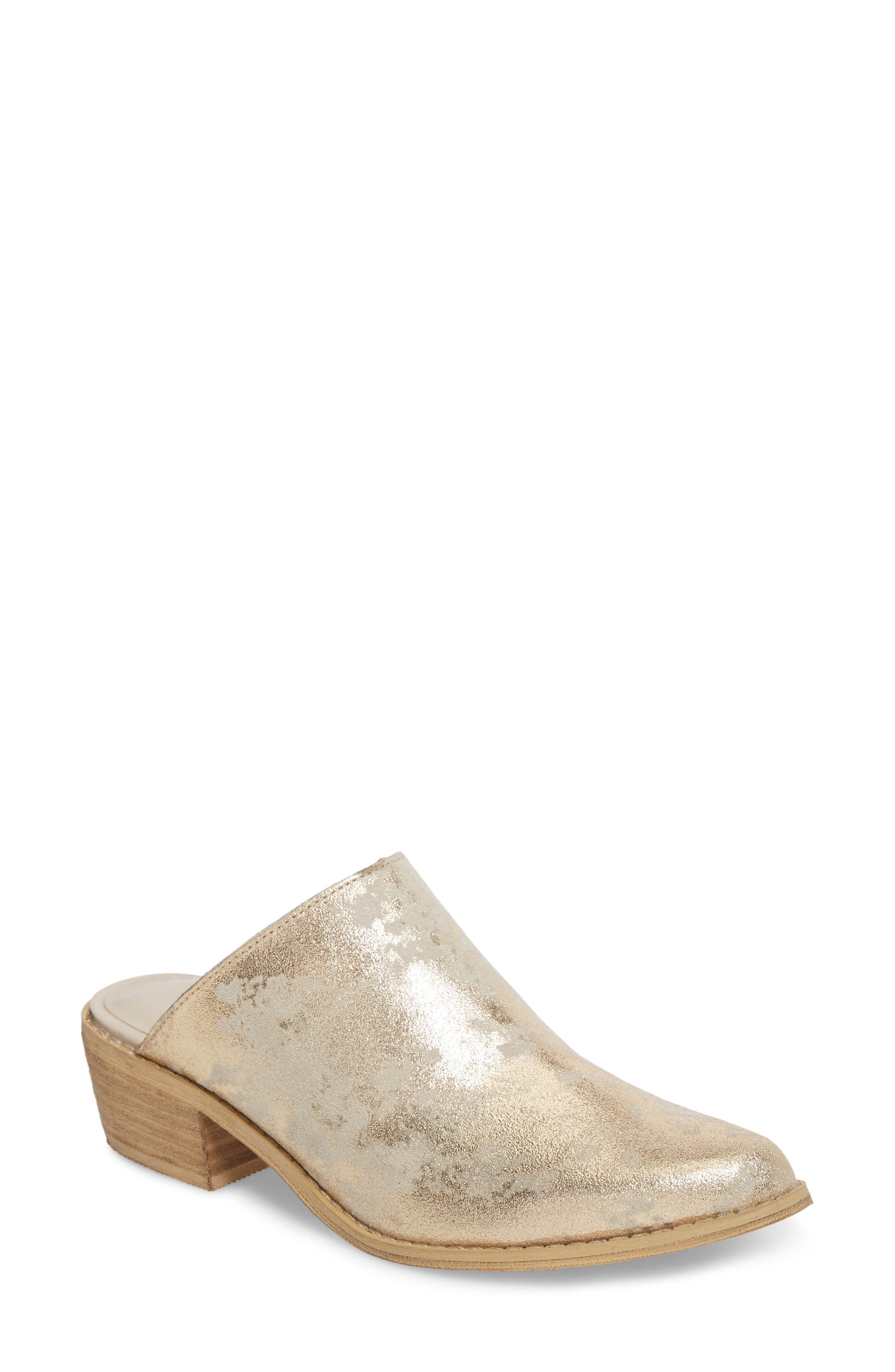 Moonstruck Mule,                             Main thumbnail 1, color,                             LIGHT GOLD SUEDE LEATHER