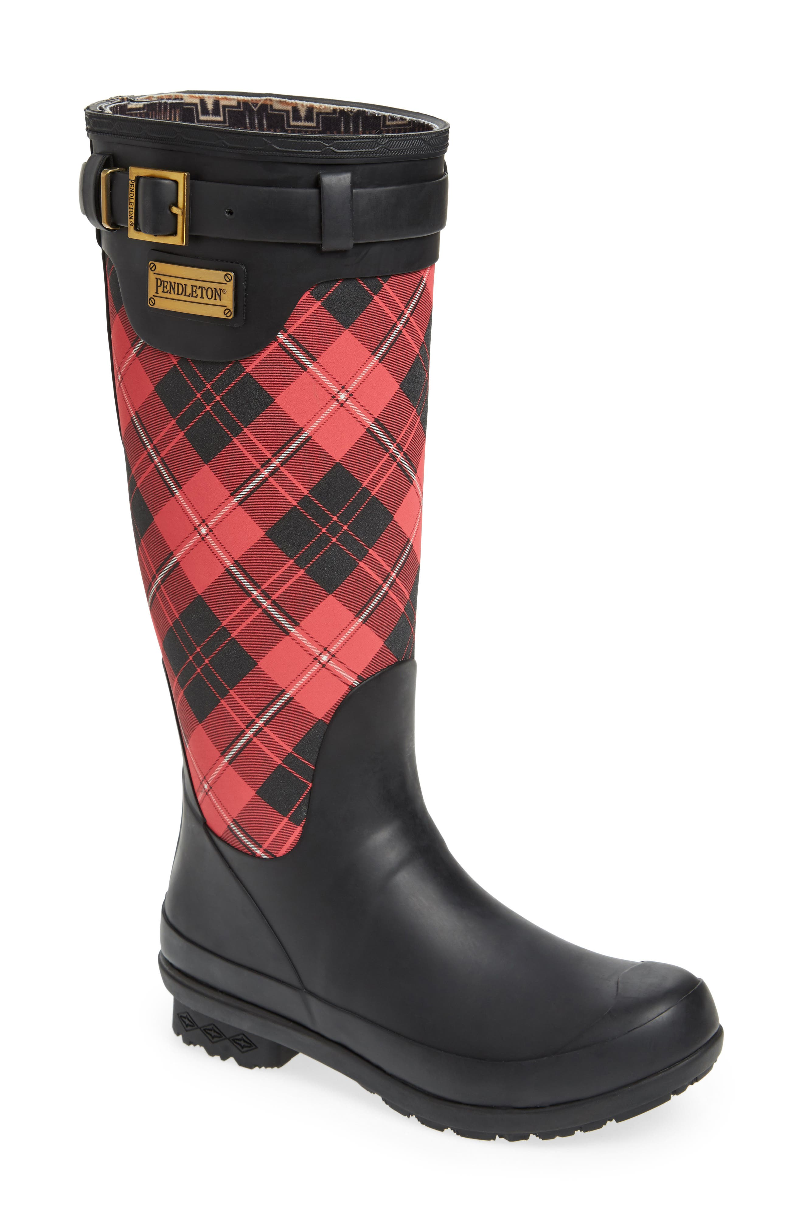 Heritage Cunningham Tartan Tall Boot,                             Main thumbnail 1, color,                             SCARLET