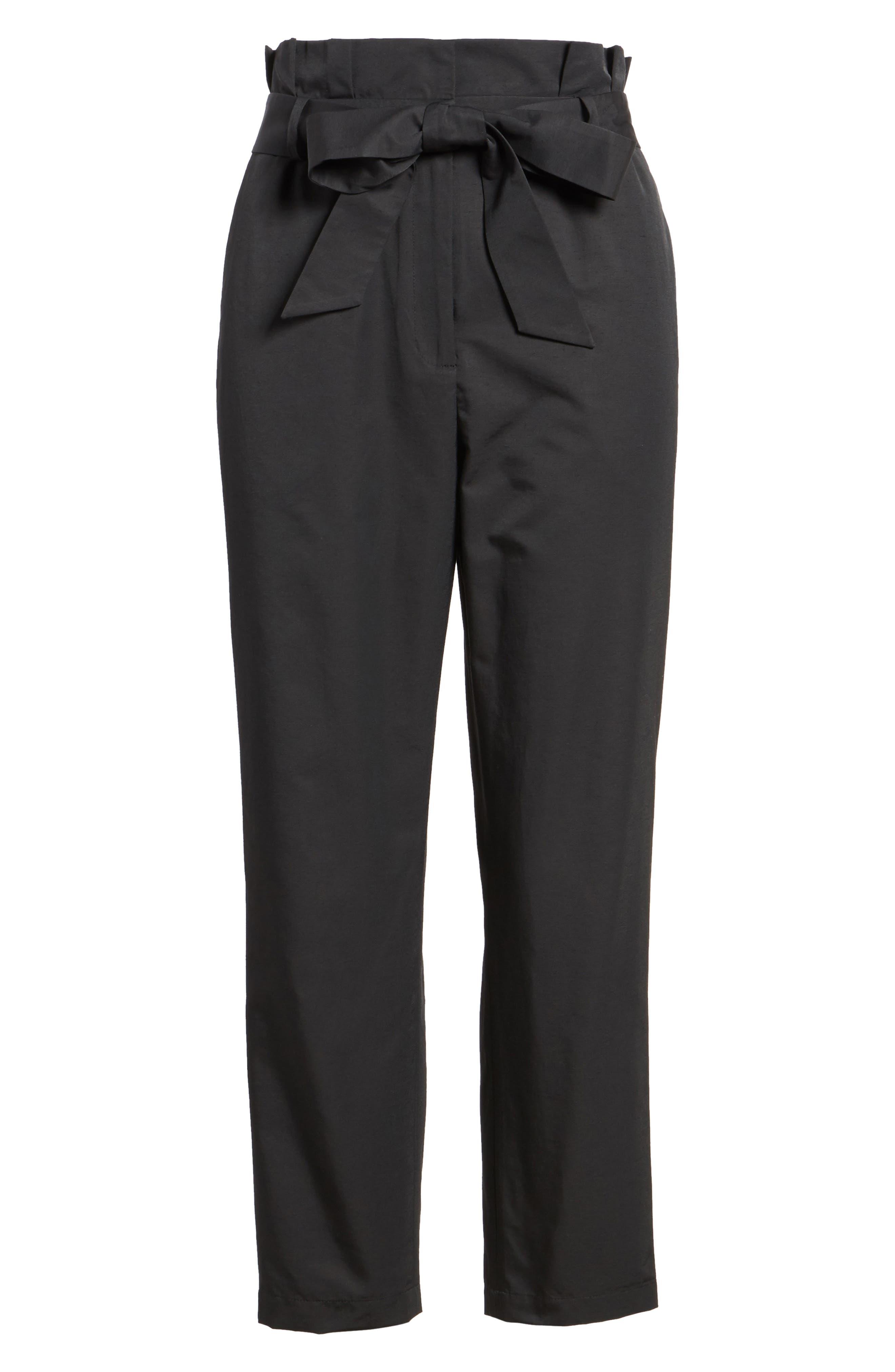 Paperbag Tie Waist Pants,                             Alternate thumbnail 7, color,                             001