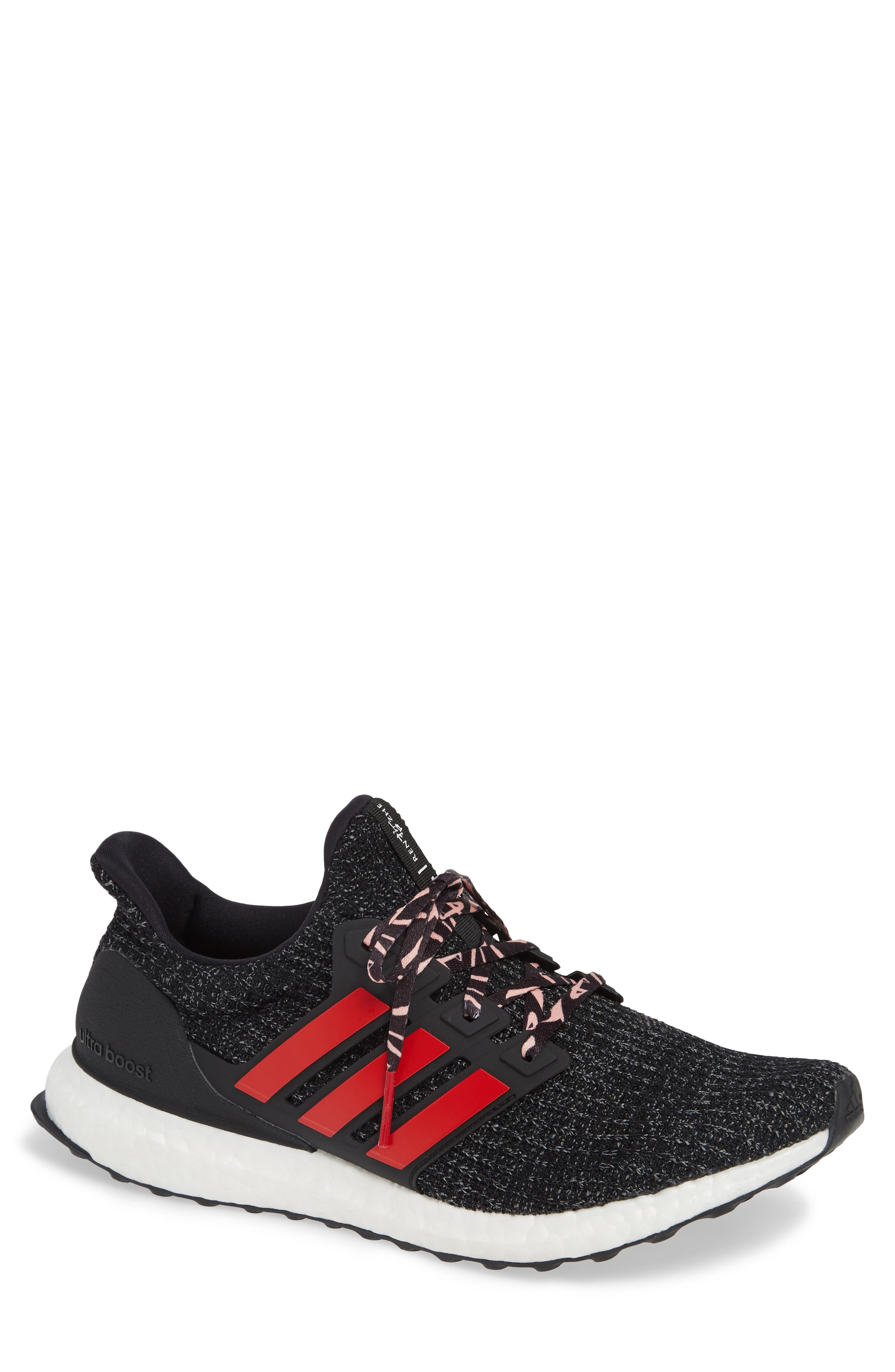 'UltraBoost' Running Shoe,                             Main thumbnail 1, color,                             CORE BLACK/ SCARLET/ GREY