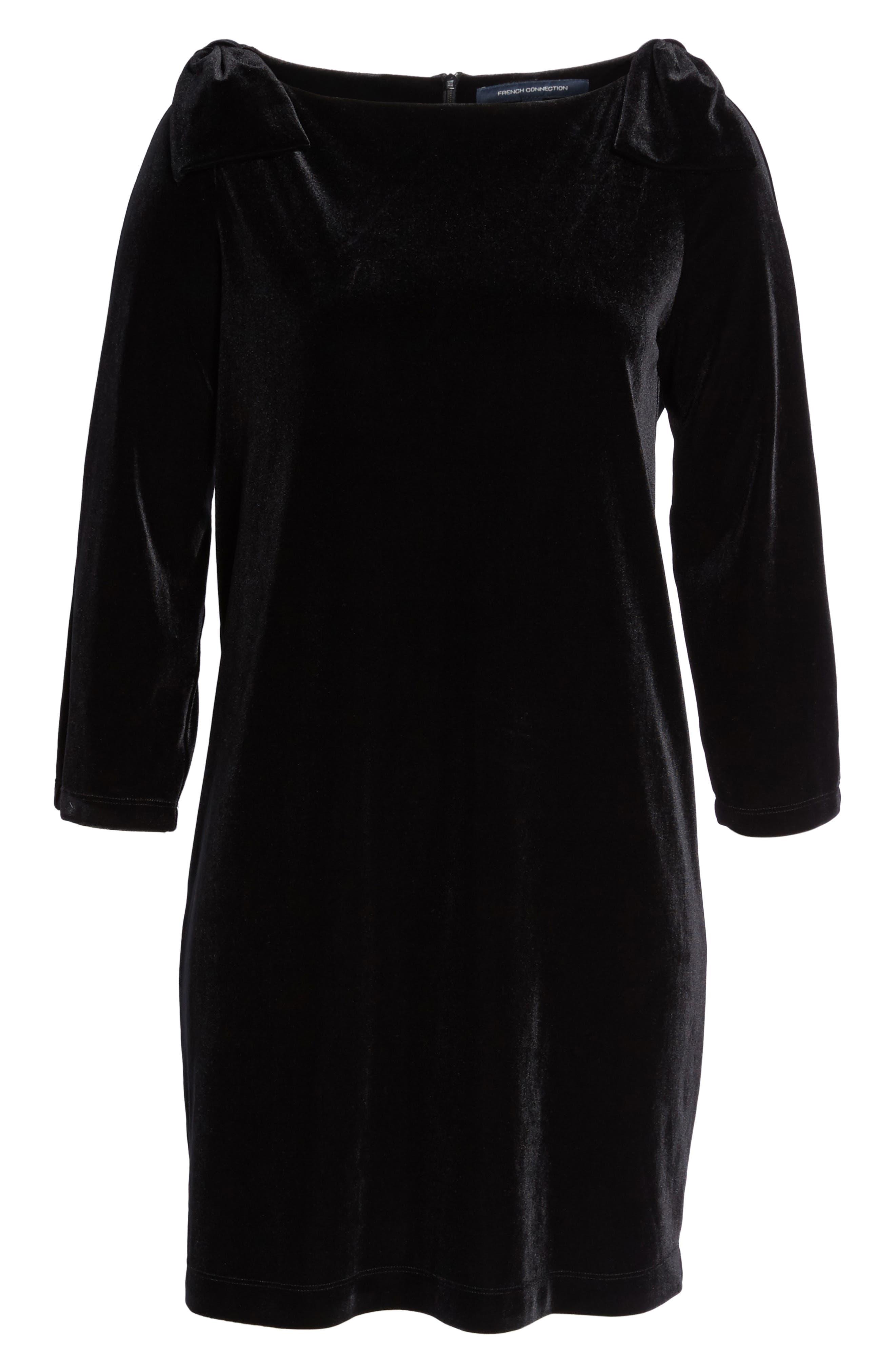 Aurore Velvet Shift Dress,                             Alternate thumbnail 6, color,                             001