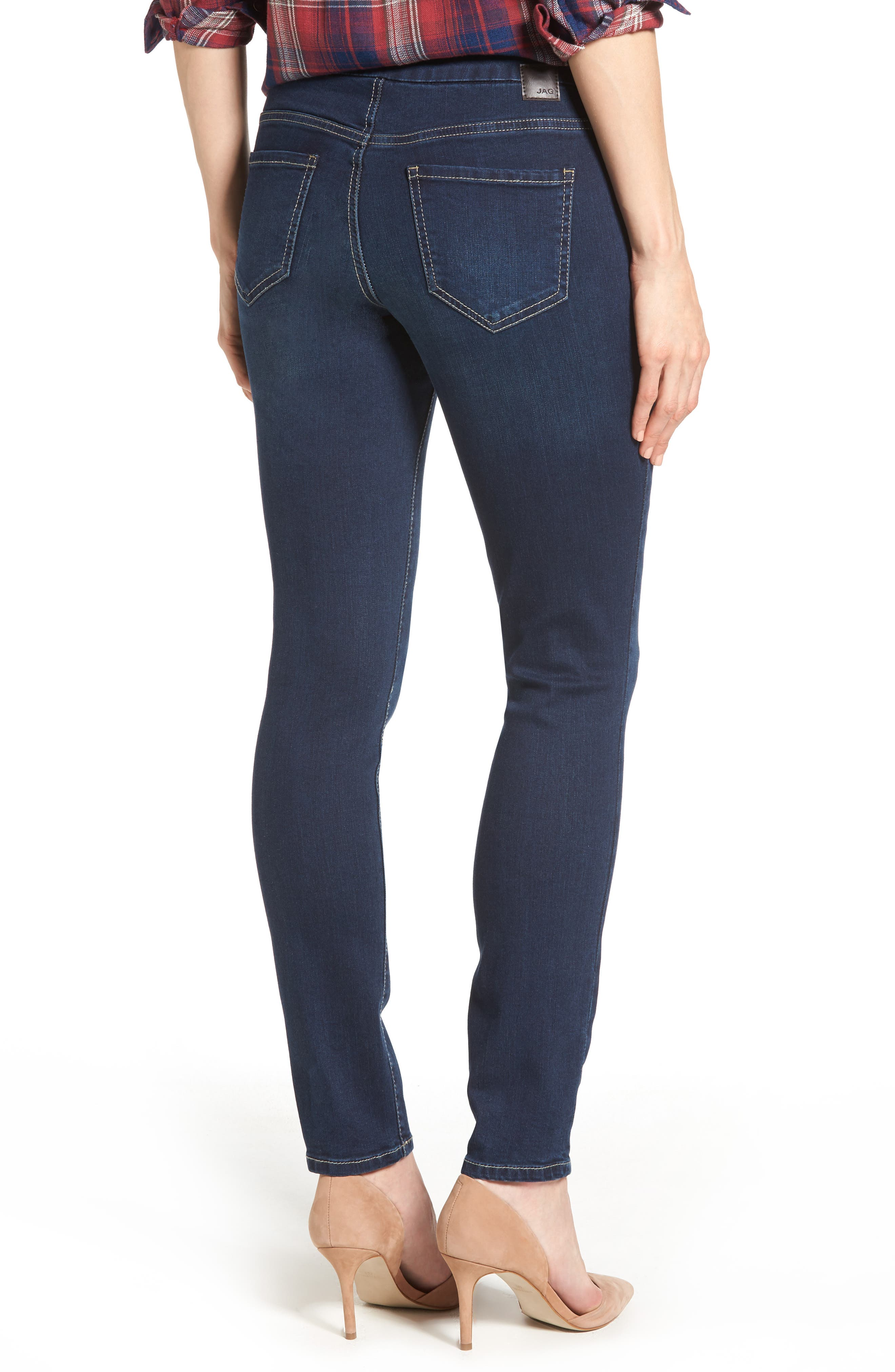 Nora Stretch Skinny Jeans,                             Alternate thumbnail 2, color,                             DARK INDIGO