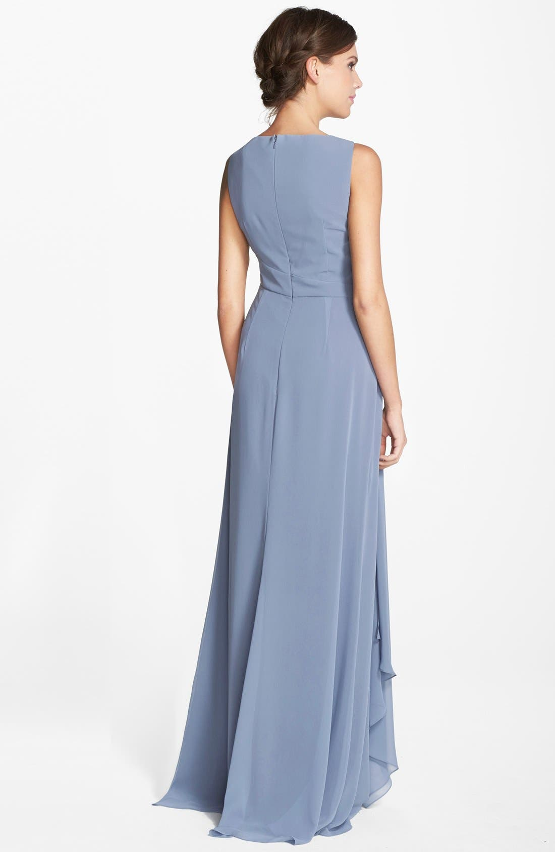 Sleeveless V-Neck Chiffon Gown,                             Alternate thumbnail 3, color,                             461
