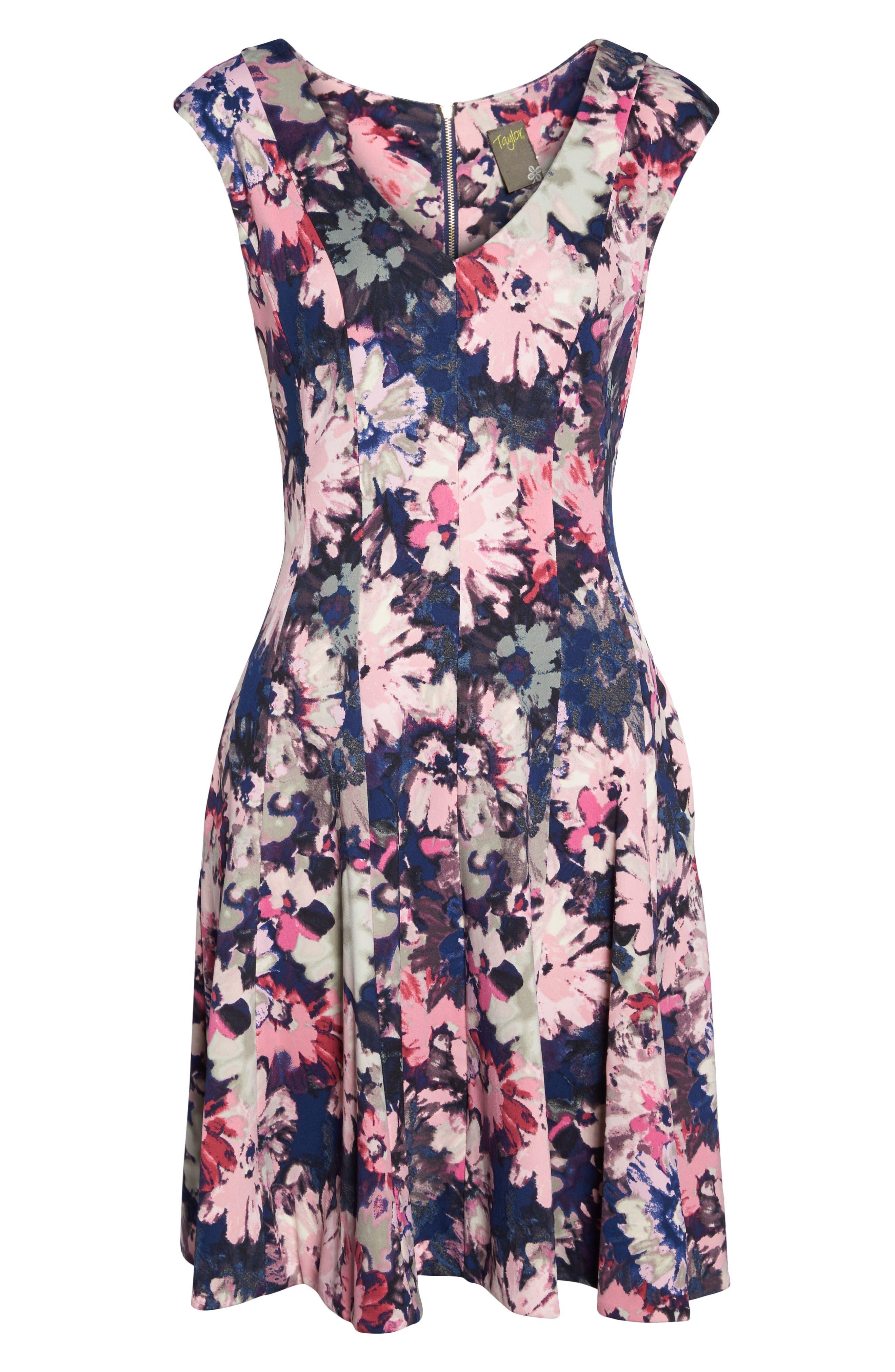 Fit & Flare Dress,                             Alternate thumbnail 6, color,                             410