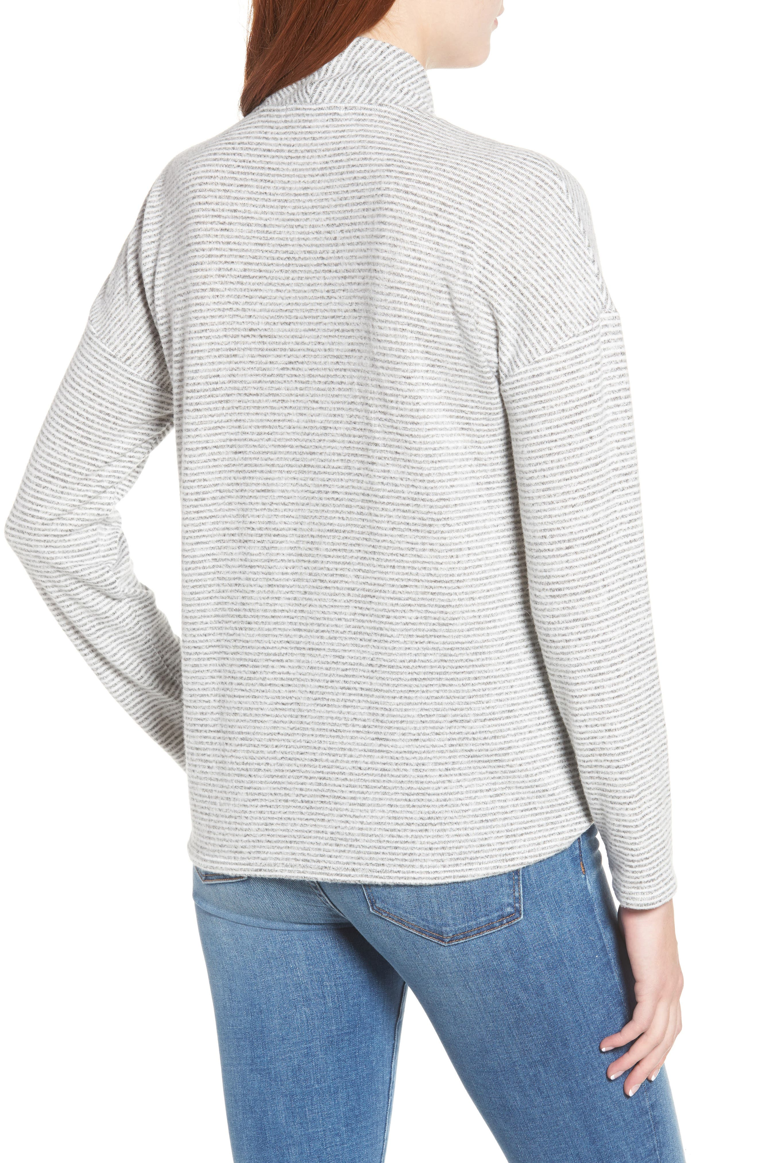 GIBSON,                             x Living in Yellow Diana Cozy Knit Wrap Top,                             Alternate thumbnail 2, color,                             GREY/ IVORY