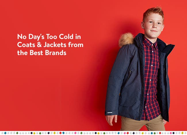 No day's too cold in boys' coats and jackets from the best brands.