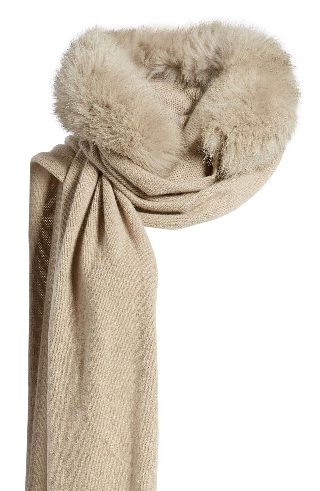 Nava Hooded Scarf with Genuine Fox Fur Trim,                             Alternate thumbnail 4, color,                             001 ALBINO