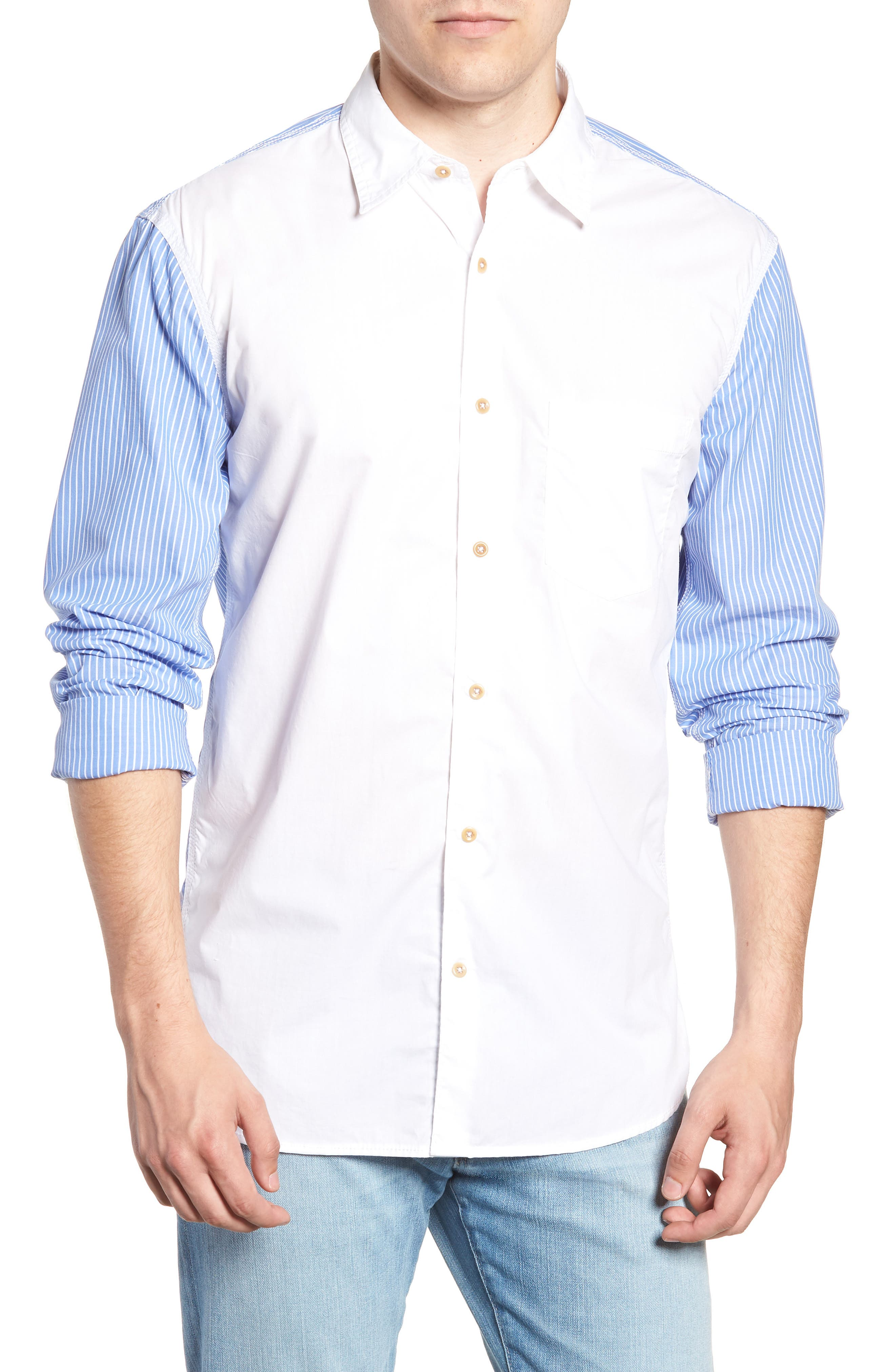 Stripe Hybrid Sport Shirt,                             Main thumbnail 1, color,                             WHITE RICH BLUE
