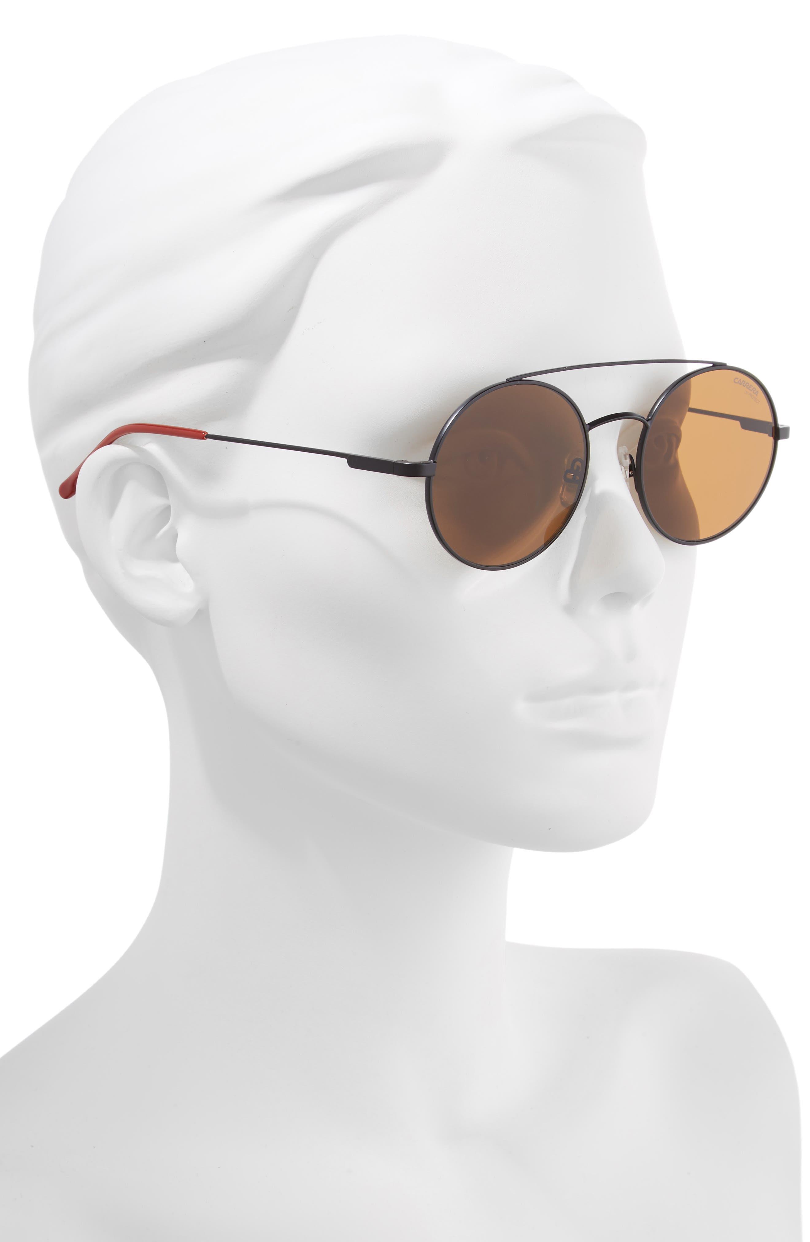 51mm Round Sunglasses,                             Alternate thumbnail 2, color,                             MATTE BLACK