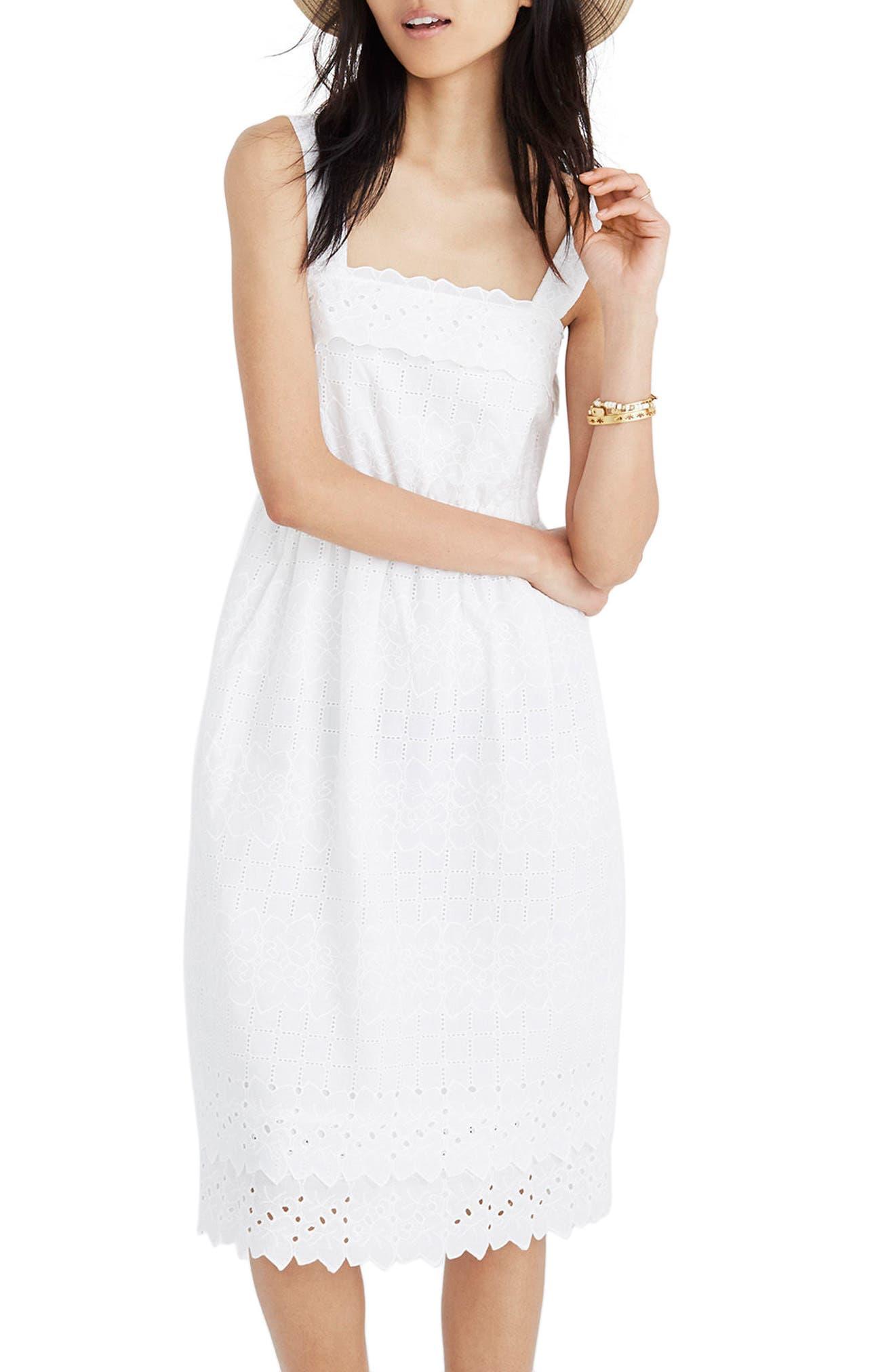 Eyelet Tiered Midi Dress,                         Main,                         color, 100