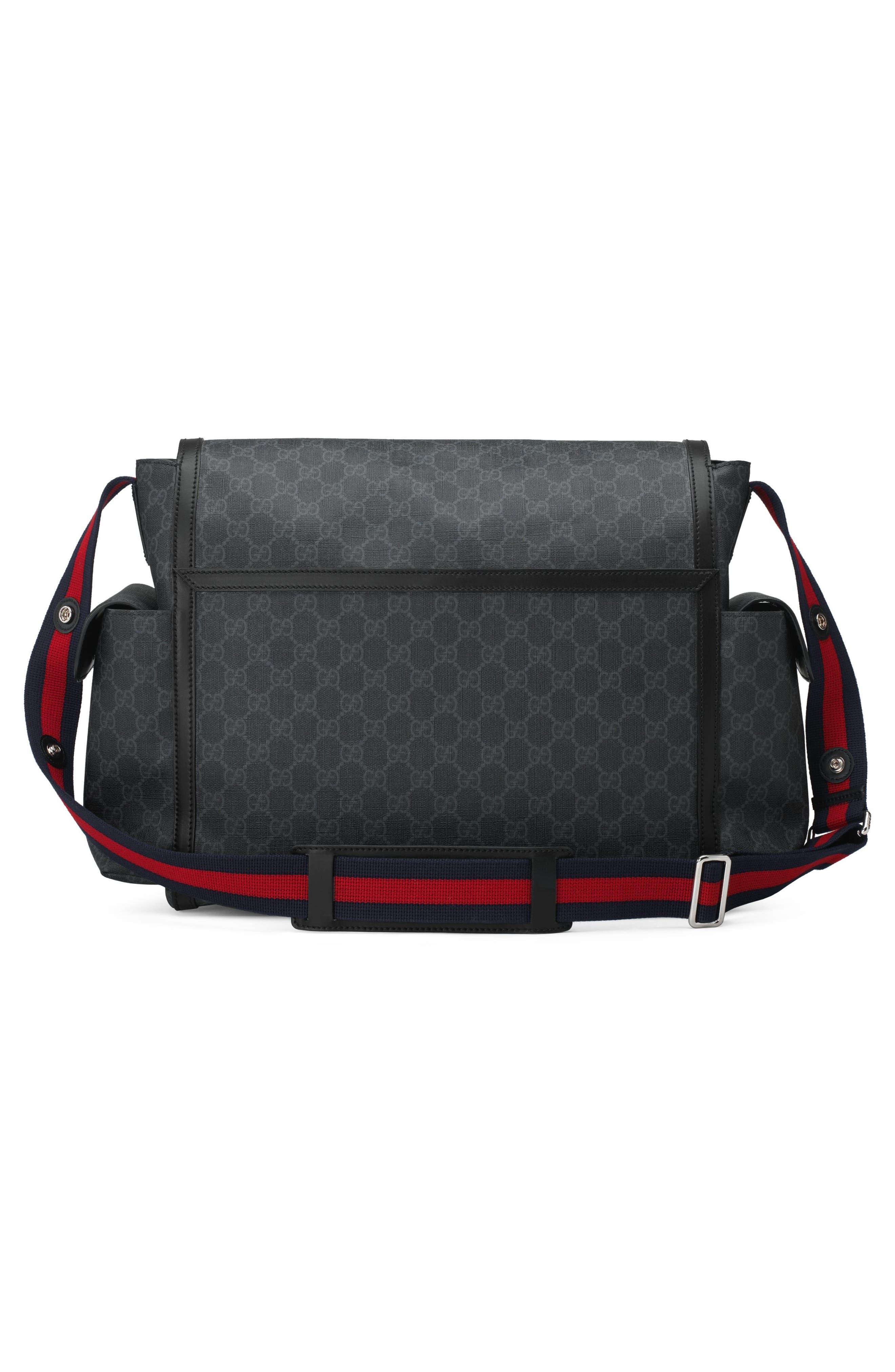 GG Supreme Canvas Diaper Bag,                             Alternate thumbnail 10, color,                             BLACK