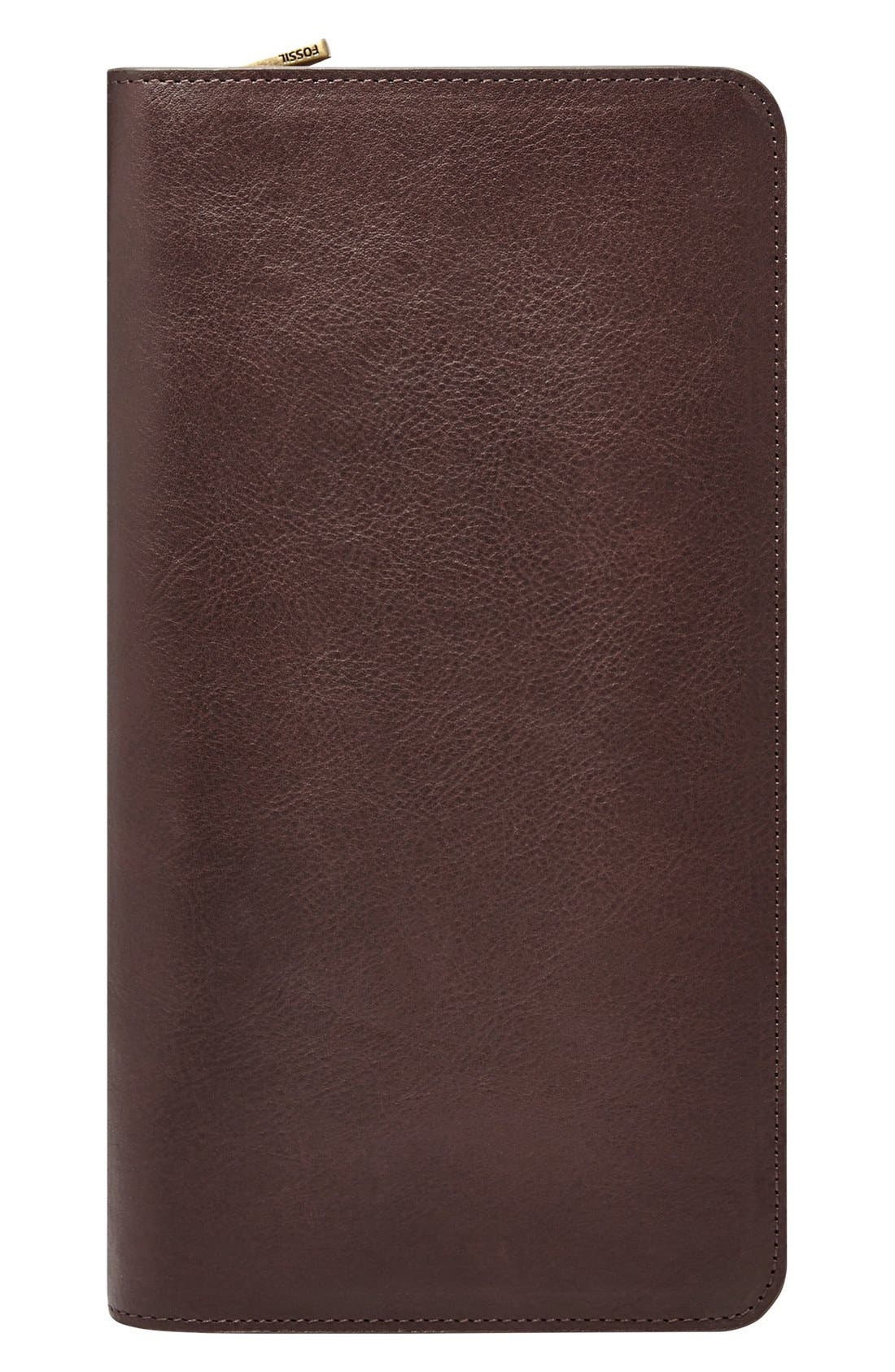 Leather Zip Passport Case,                             Main thumbnail 1, color,                             201