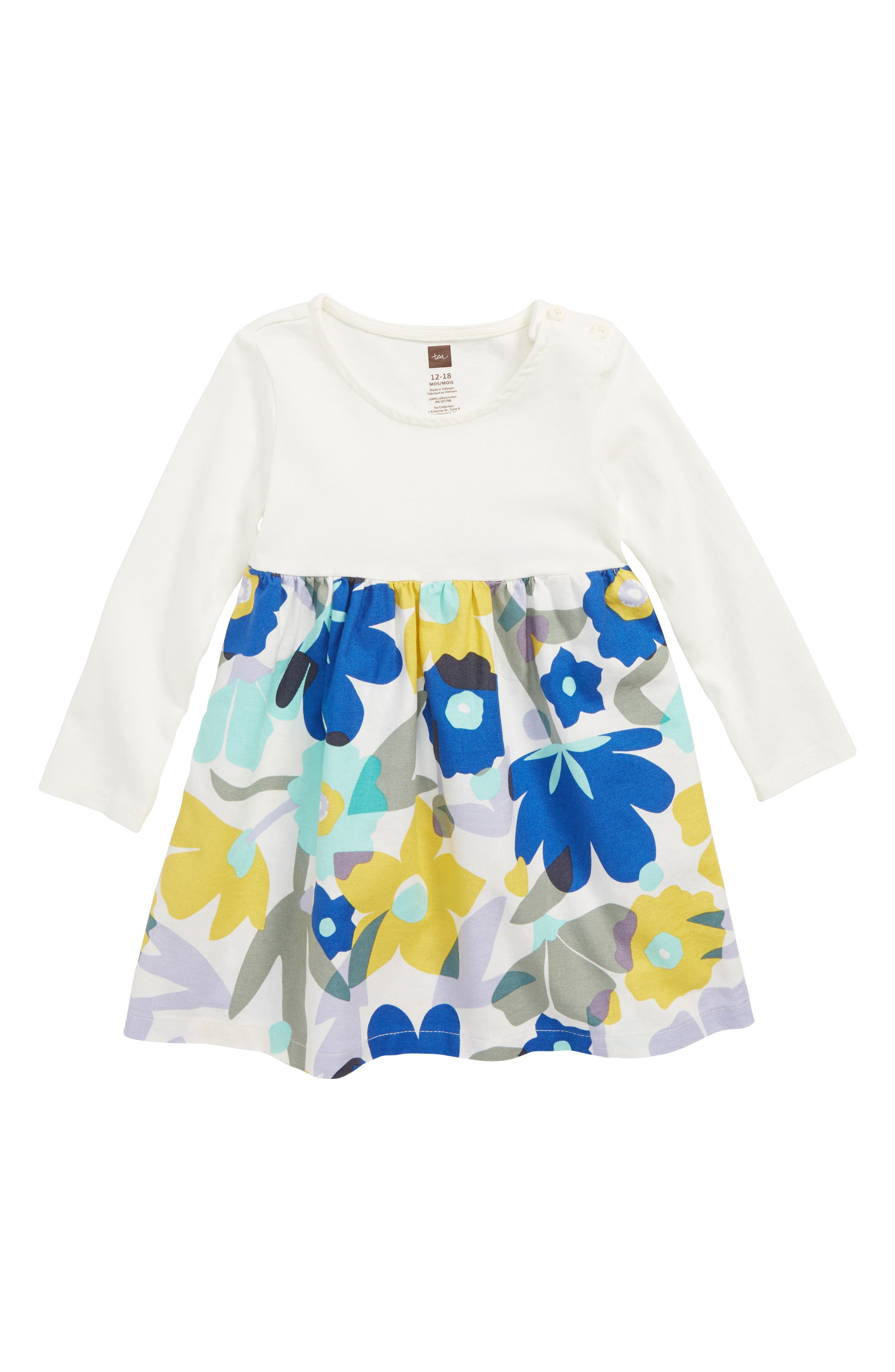 Two-Tone Dress,                             Main thumbnail 1, color,                             MARINA FLORAL