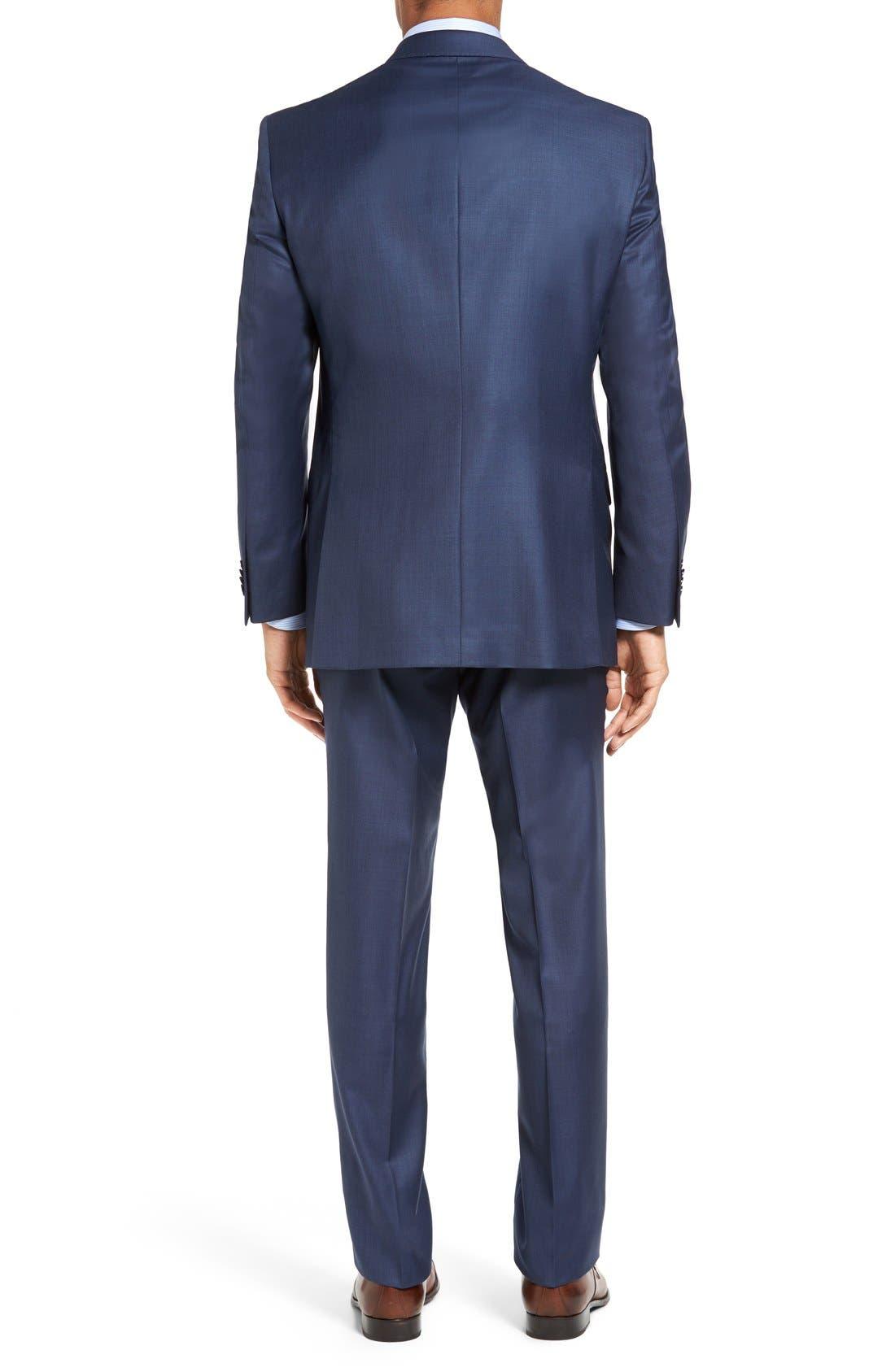 PETER MILLAR,                             Flynn Classic Fit Wool Suit,                             Alternate thumbnail 3, color,                             BLUE