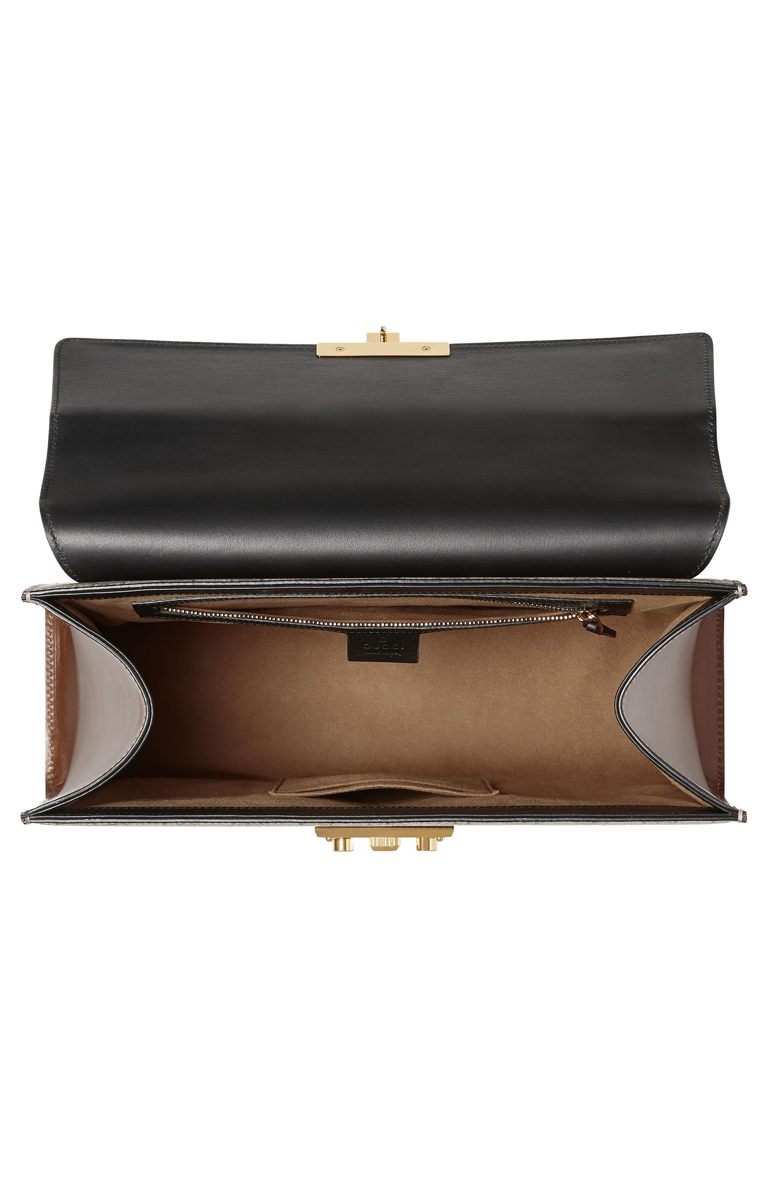 Medium Padlock Top Handle GG Supreme Canvas & Leather Bag,                             Alternate thumbnail 3, color,                             964