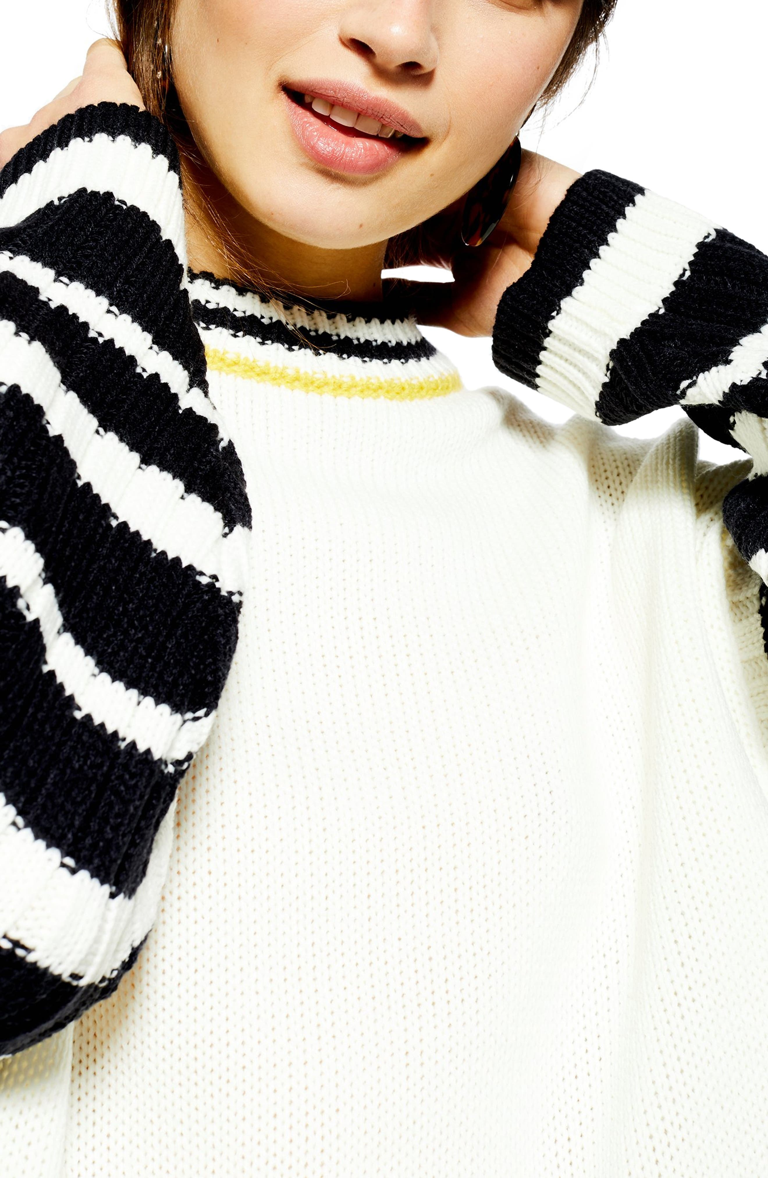 TOPSHOP,                             Whipstitch Pullover,                             Alternate thumbnail 3, color,                             IVORY MULTI