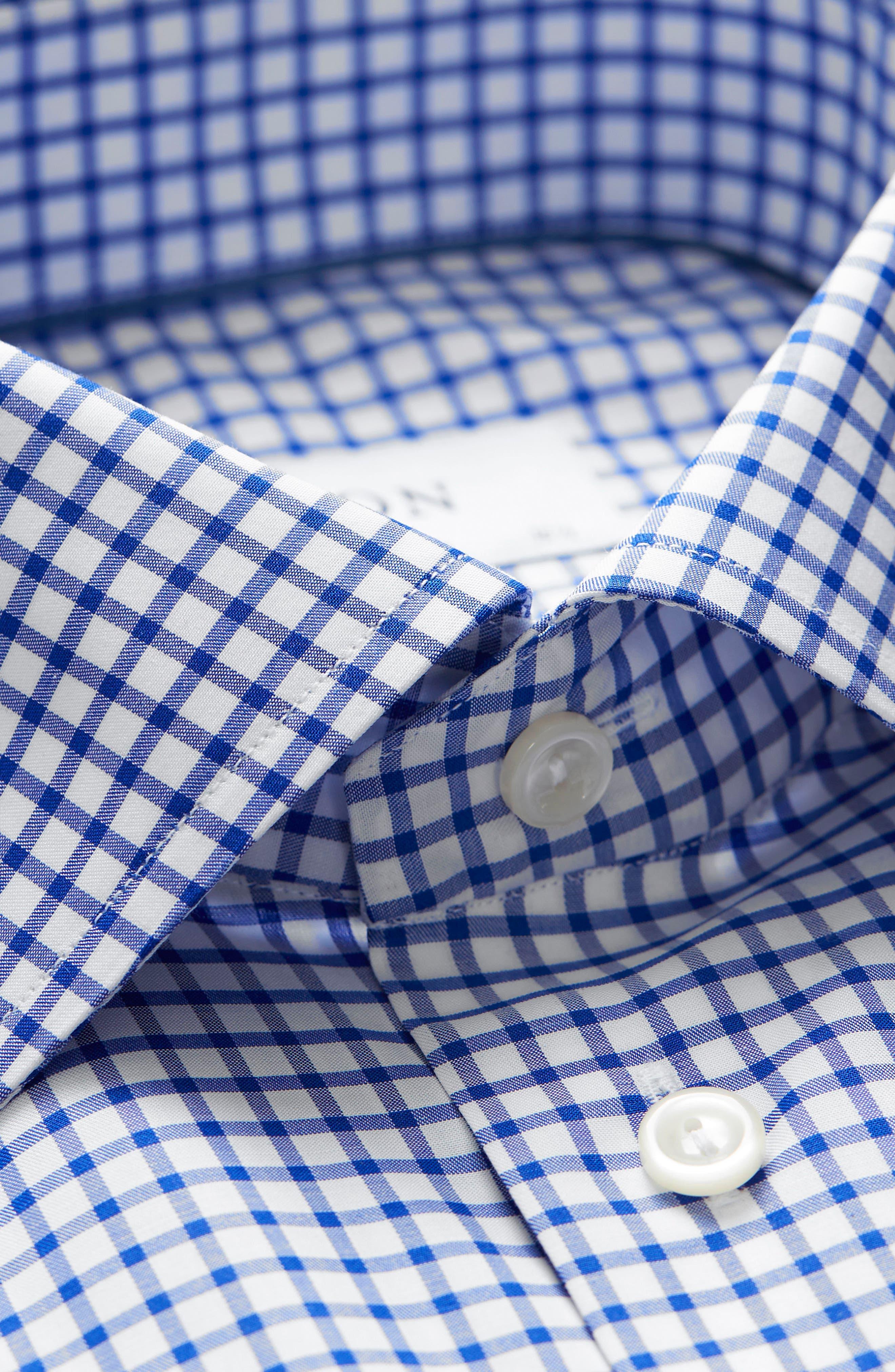 Contemporary Fit Check Dress Shirt,                             Alternate thumbnail 3, color,                             BLUE