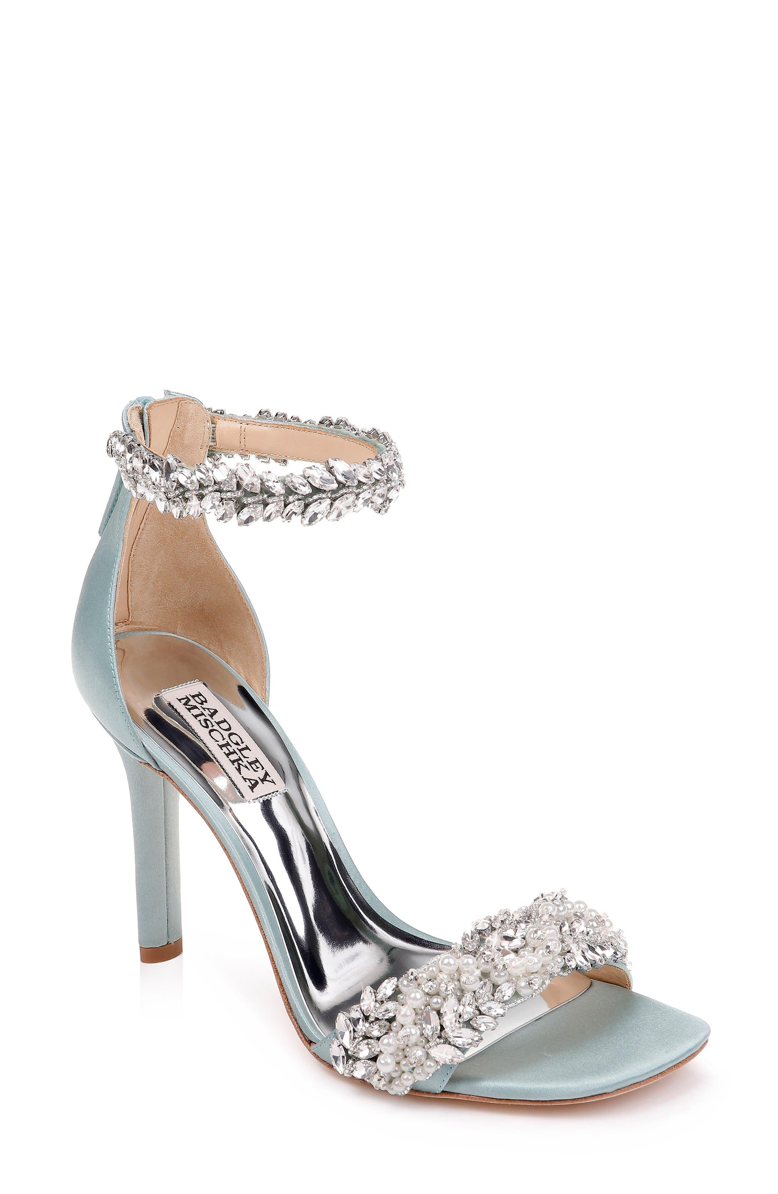 Badgley Mischka Fiorenza Crystal & Imitation Pearl Embellished Sandal in Blue Radiance Satin