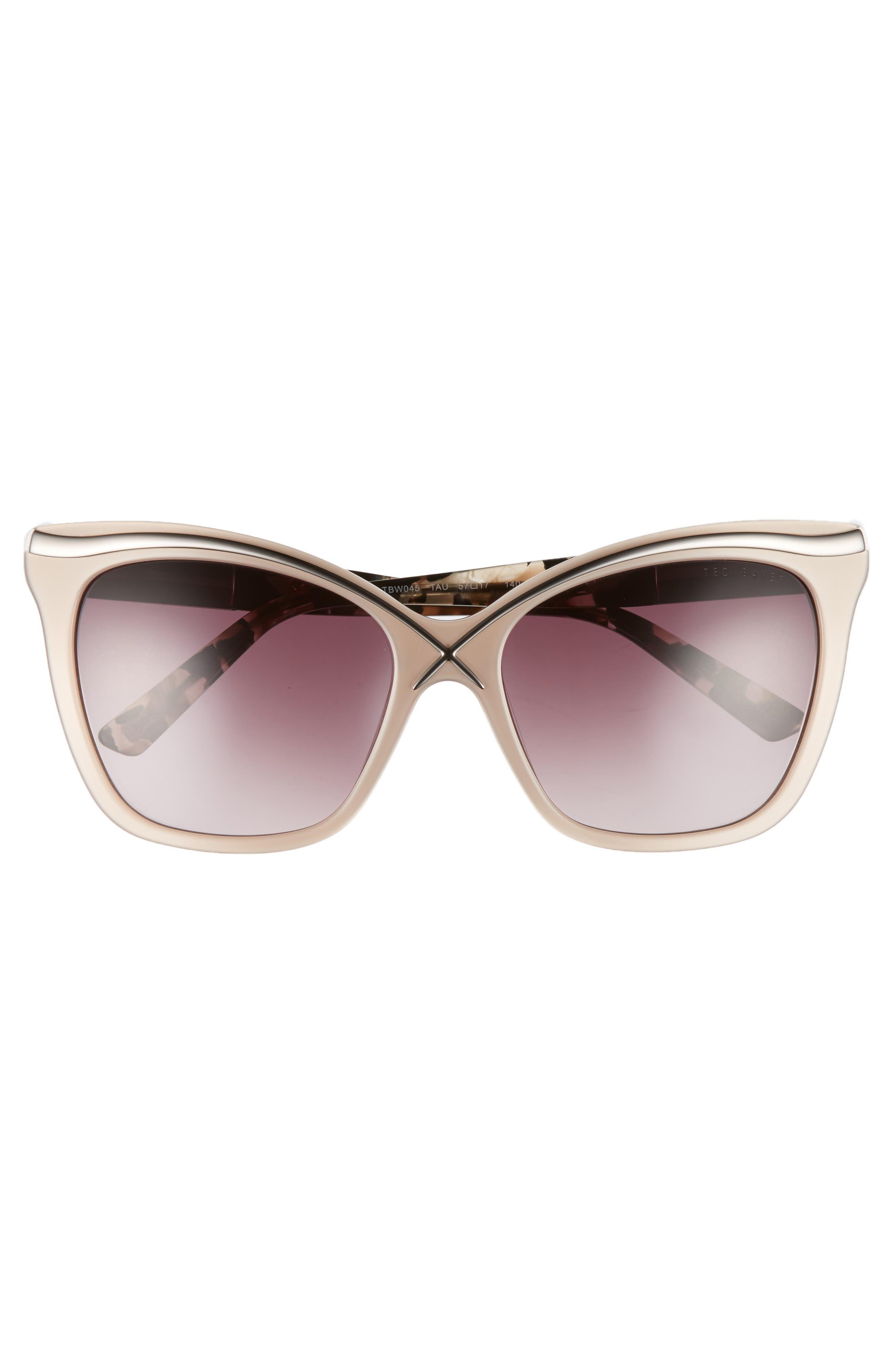 57mm Square Cat Eye Sunglasses,                             Alternate thumbnail 9, color,