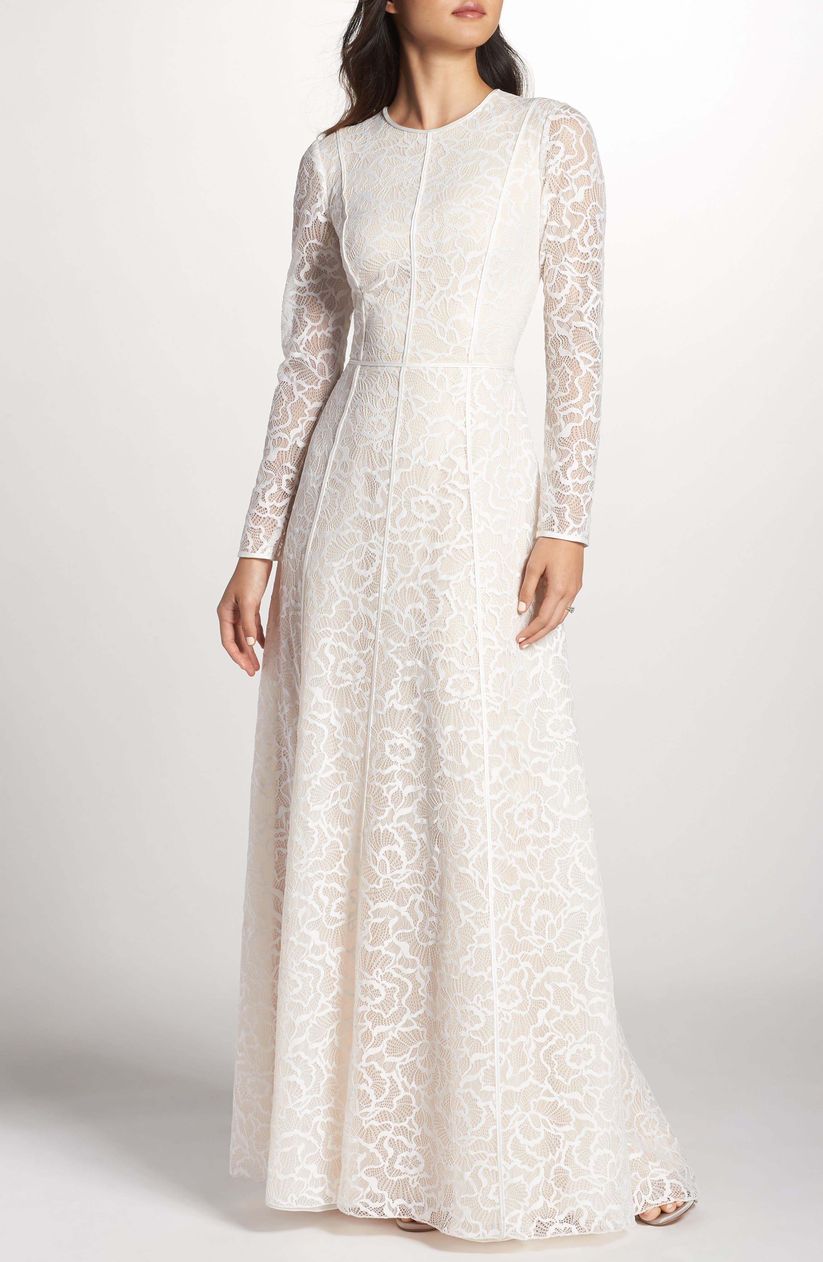 Sheer Sleeve Lace A-Line Gown,                             Main thumbnail 1, color,                             IVORY/ PETAL