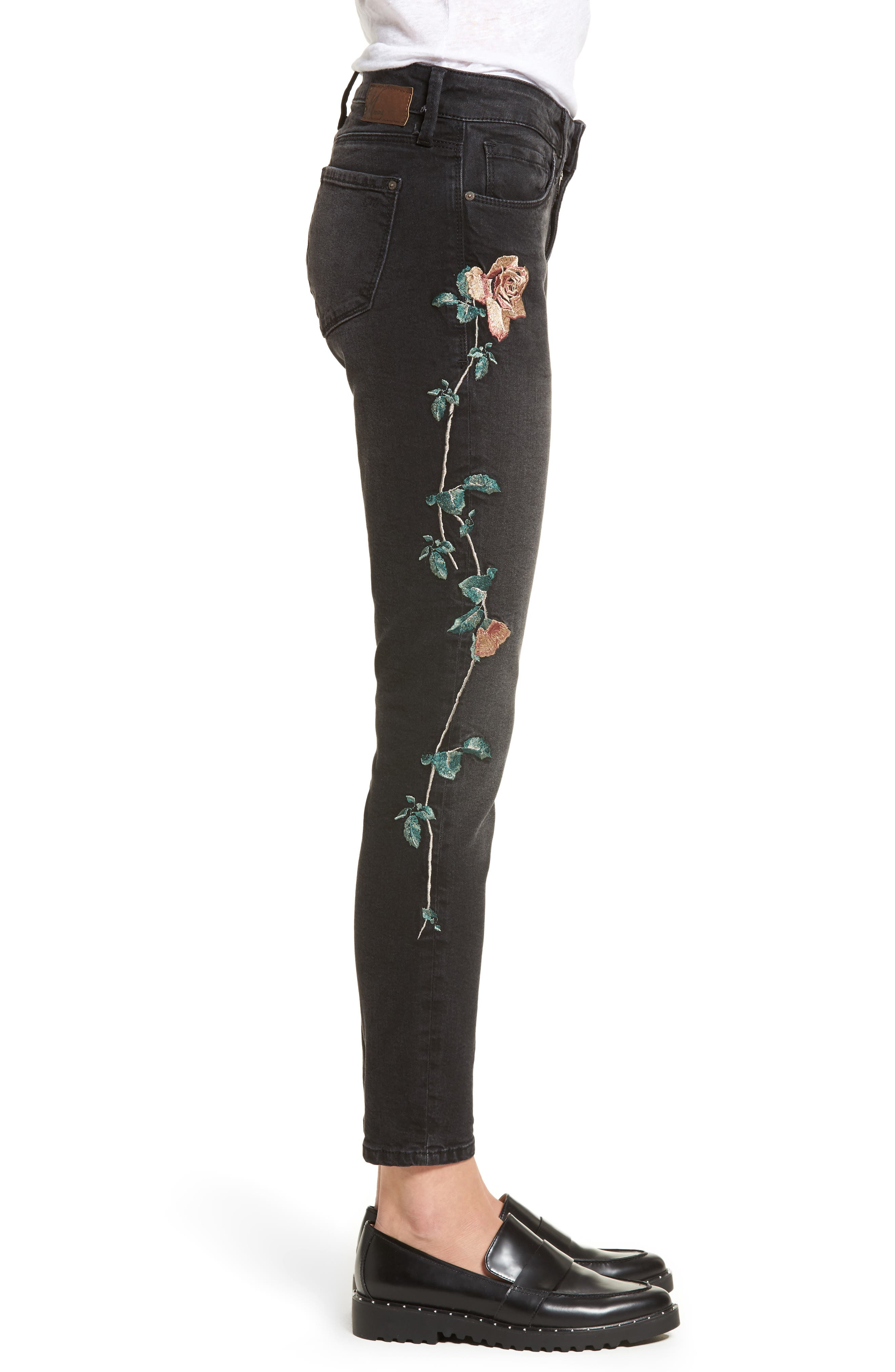 Adriana Embroidered Skinny Jeans,                             Alternate thumbnail 3, color,                             002