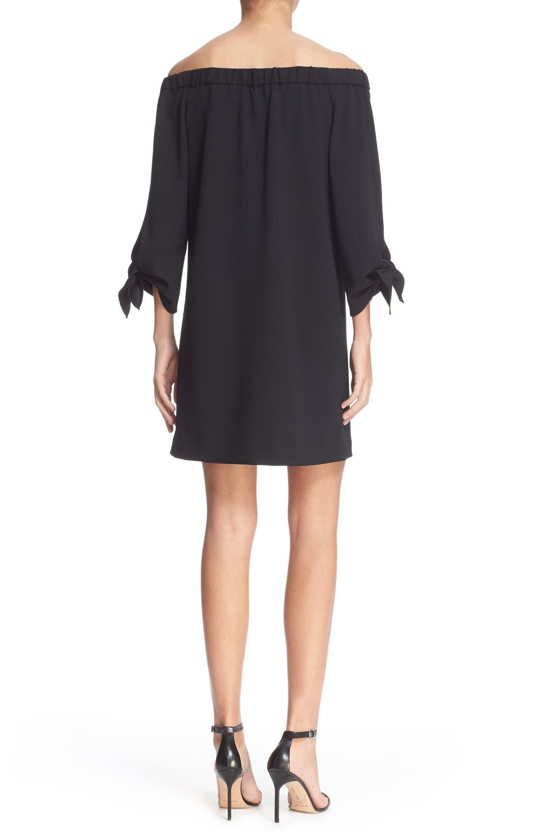 TIBI,                             Off the Shoulder Flutter Sleeve Dress,                             Alternate thumbnail 3, color,                             001