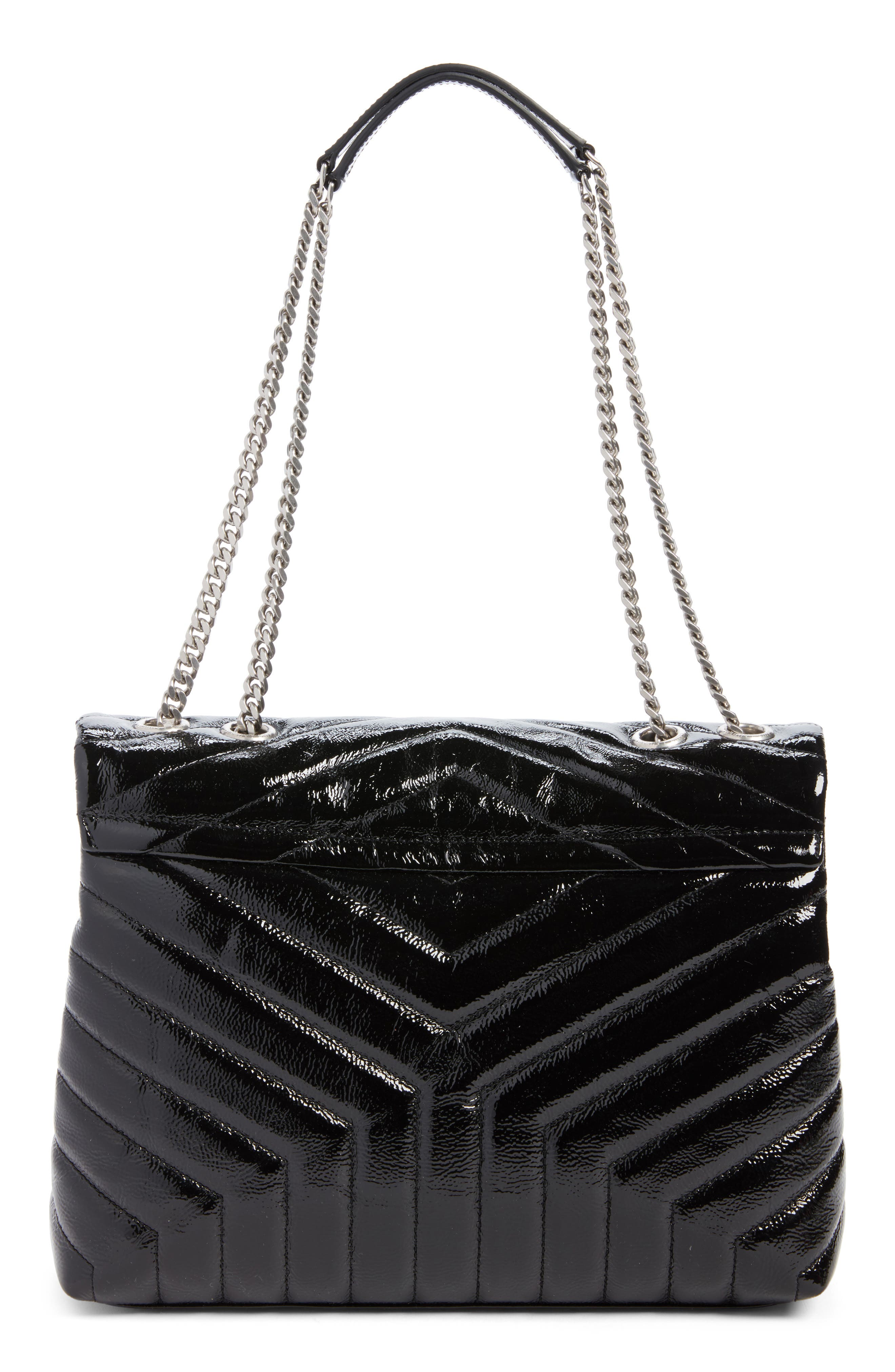 Medium Loulou Patent Leather Shoulder Bag,                             Alternate thumbnail 3, color,                             001