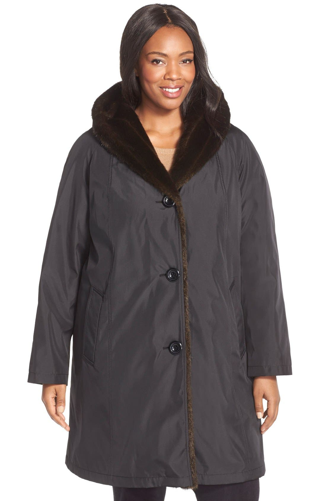 A-Line Storm Coat with FauxFur Lining & Trim, Main, color, 001