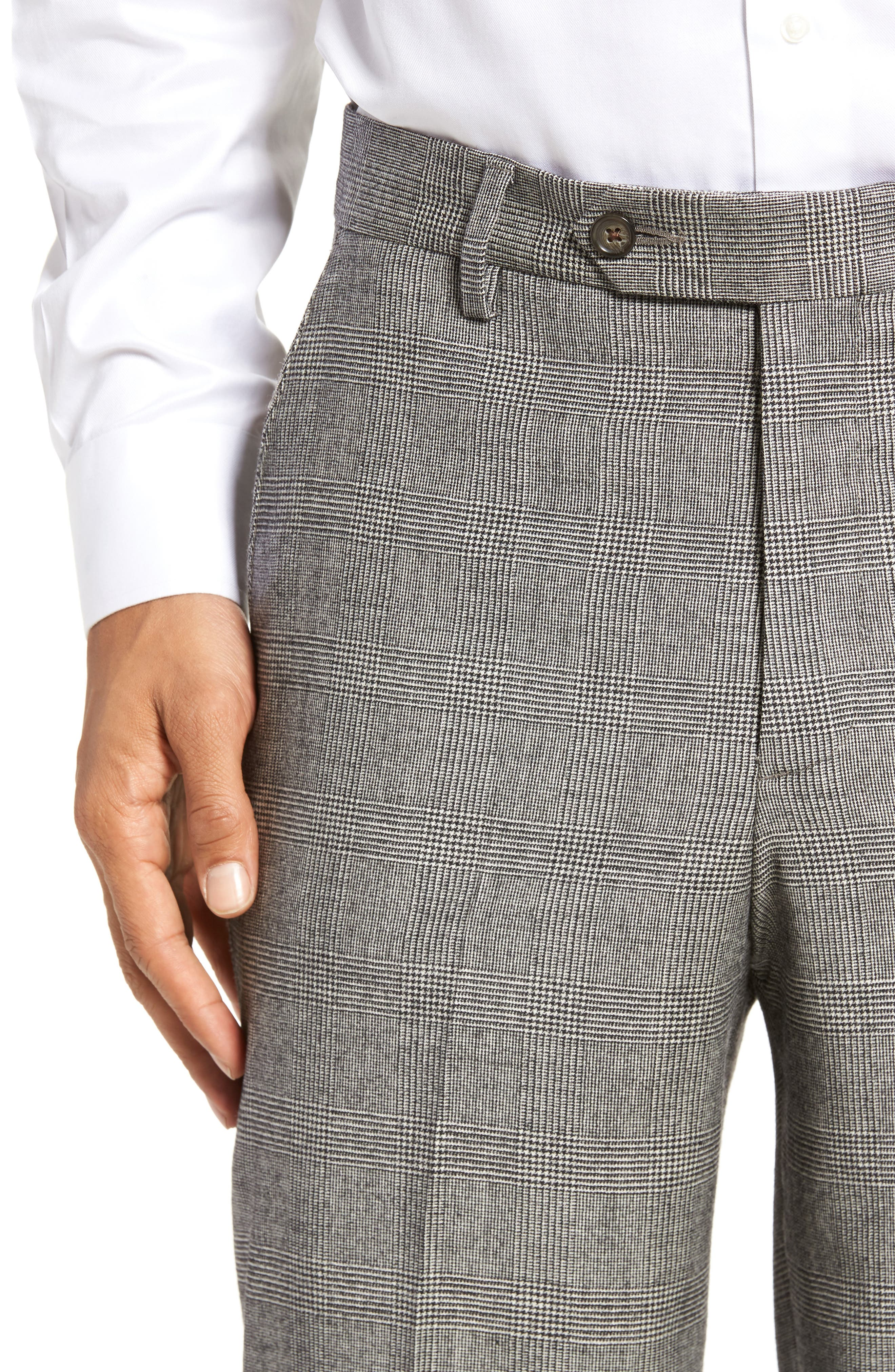 Flat Front Stretch Plaid Wool Trousers,                             Alternate thumbnail 5, color,                             BLACK/ WHITE