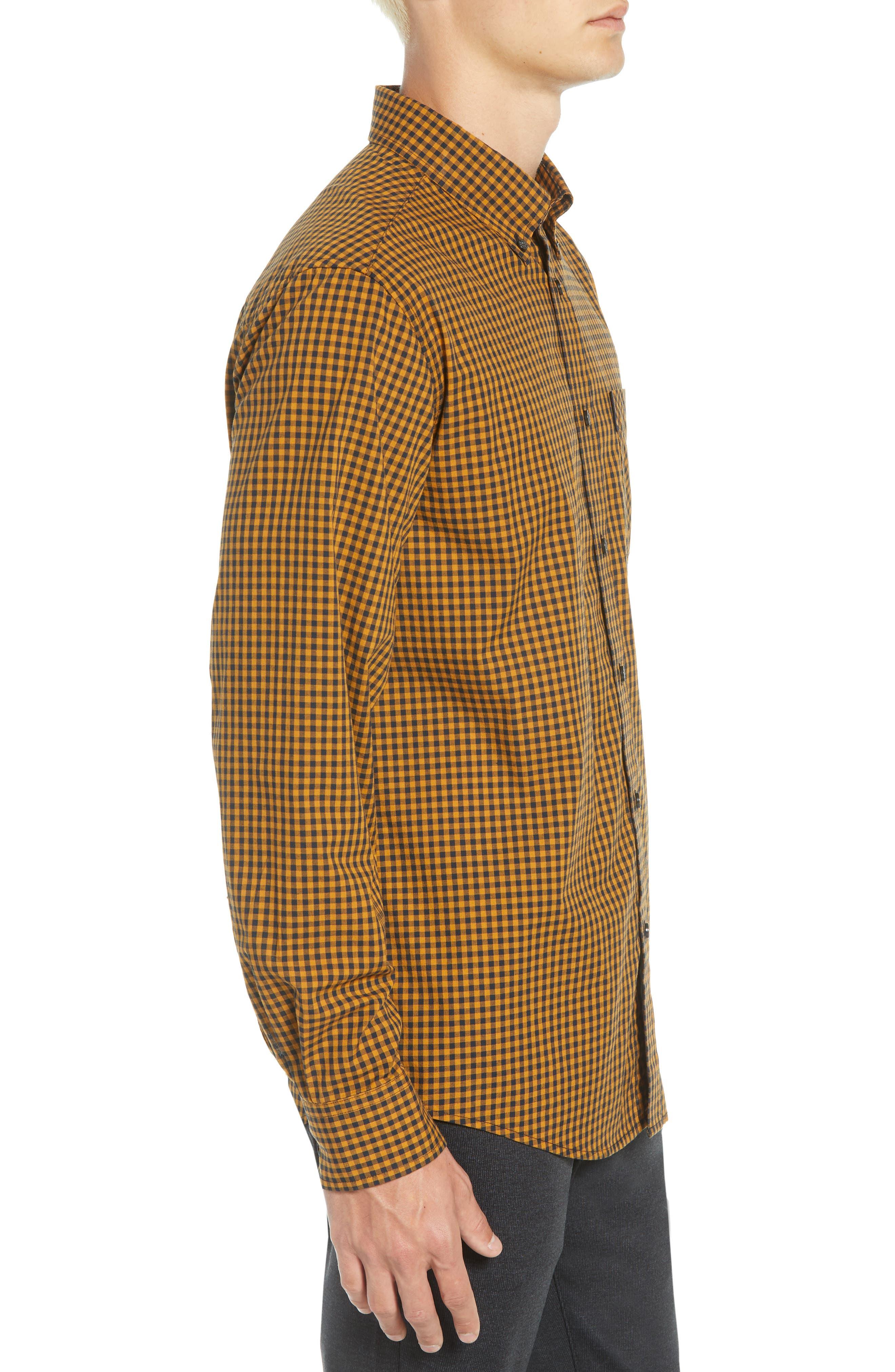 Classic Fit Gingham Sport Shirt,                             Alternate thumbnail 4, color,                             MUSTARD