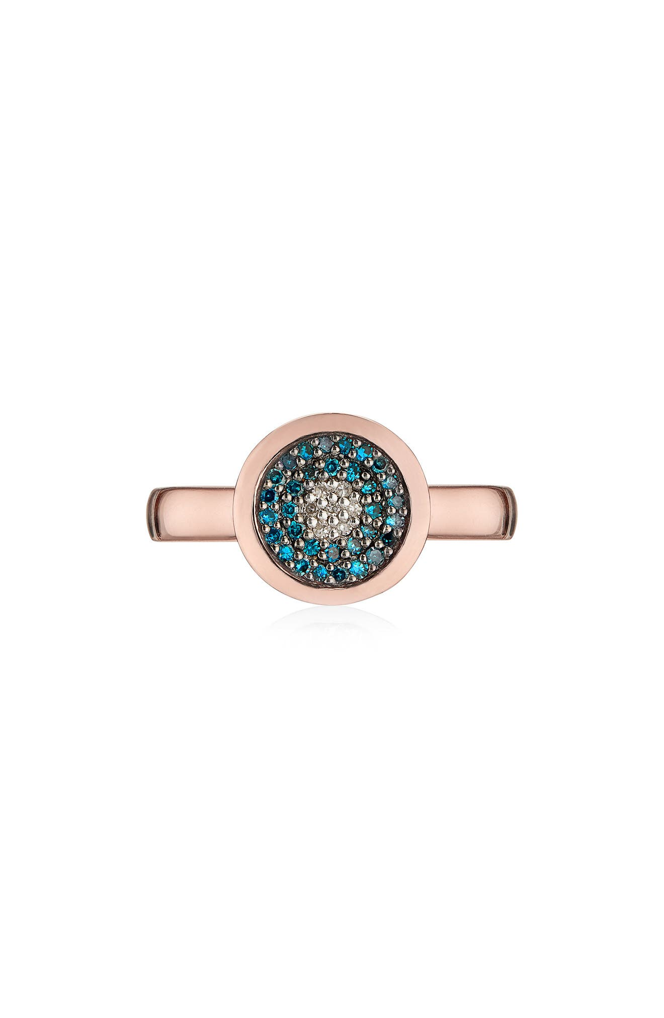 MONICA VINADER,                             Evil Eye Diamond Ring,                             Main thumbnail 1, color,                             ROSE GOLD/ BLUE DIAMOND