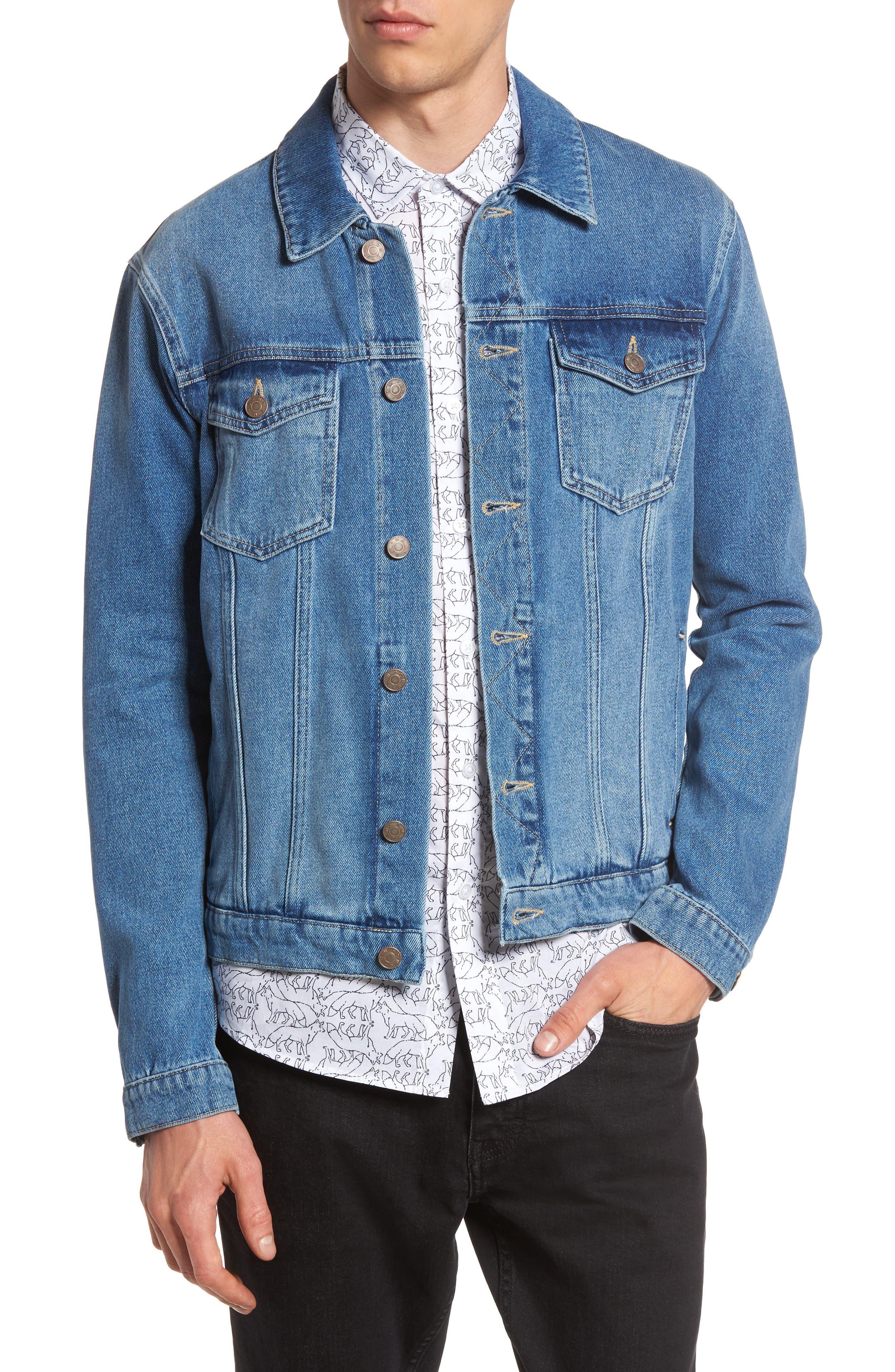 TOPMAN Griffin Denim Jacket, Main, color, 400
