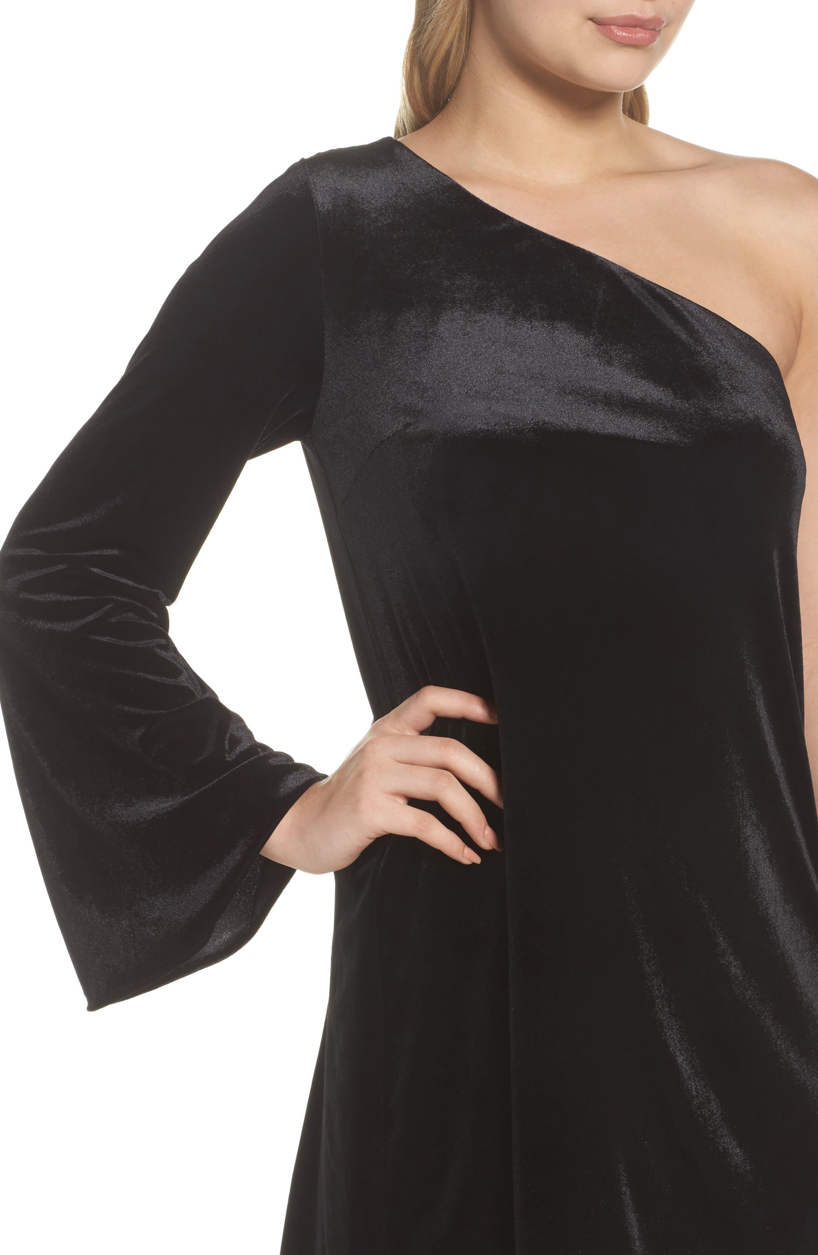 Aurore One-Shoulder Velvet Dress,                             Alternate thumbnail 4, color,                             001