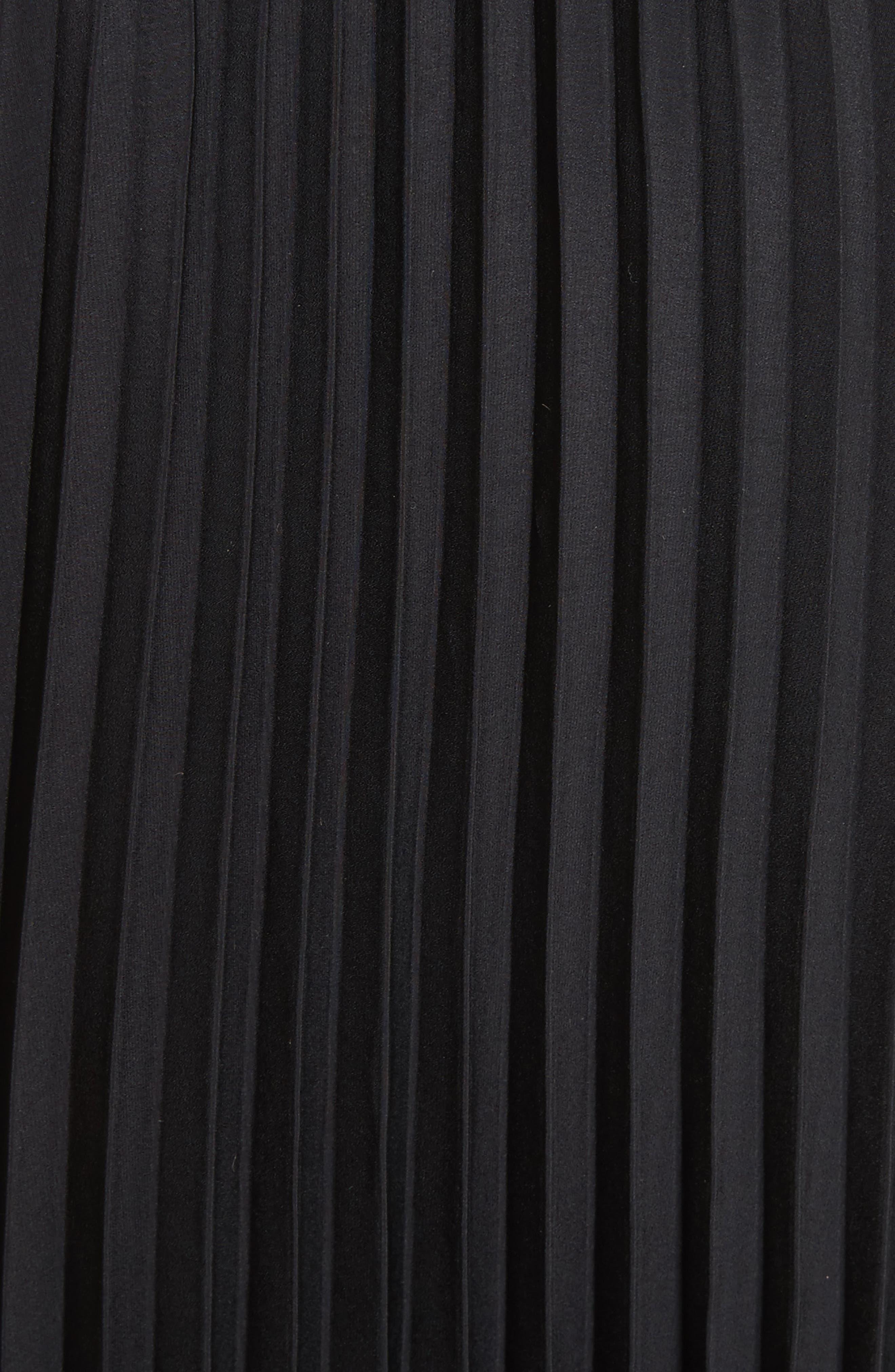 Anika Leather Trim Pleated Midi Skirt,                             Alternate thumbnail 5, color,                             001