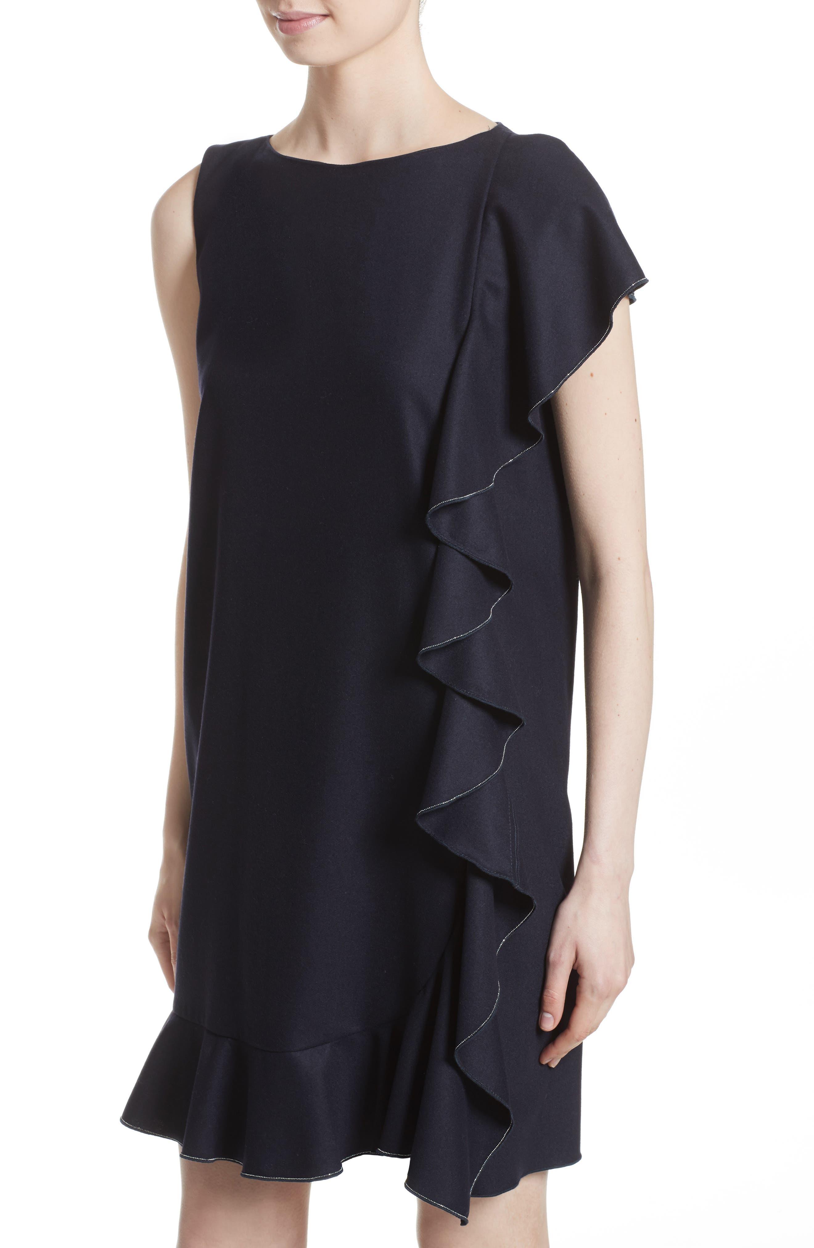 FABIANA FILIPPI,                             Stretch Wool & Cashmere Ruffle Dress,                             Alternate thumbnail 4, color,                             400