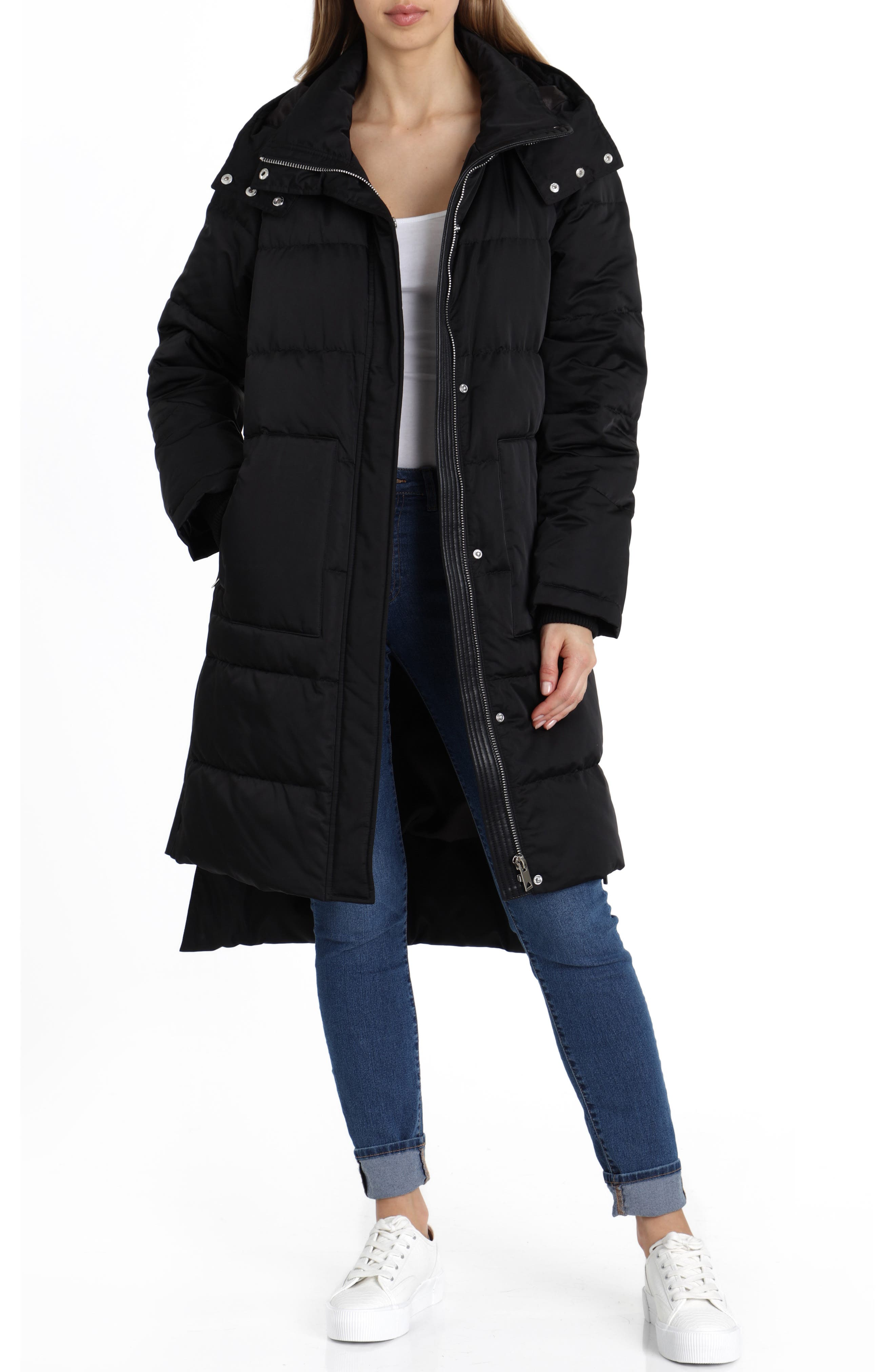 Insulated Step Hem Puffer Coat,                         Main,                         color, BLACK