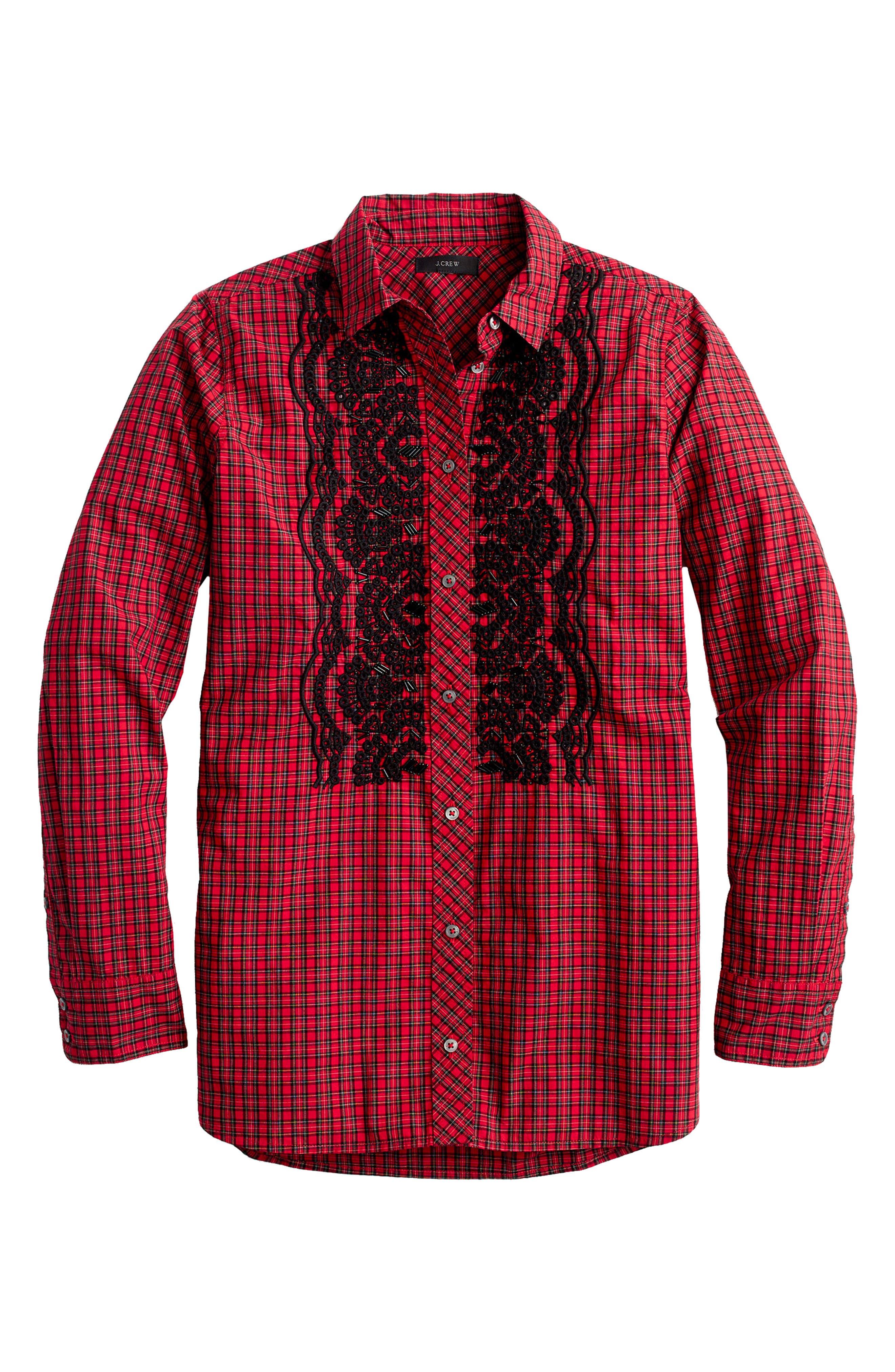 Embellished Plaid Boy Shirt,                             Alternate thumbnail 2, color,