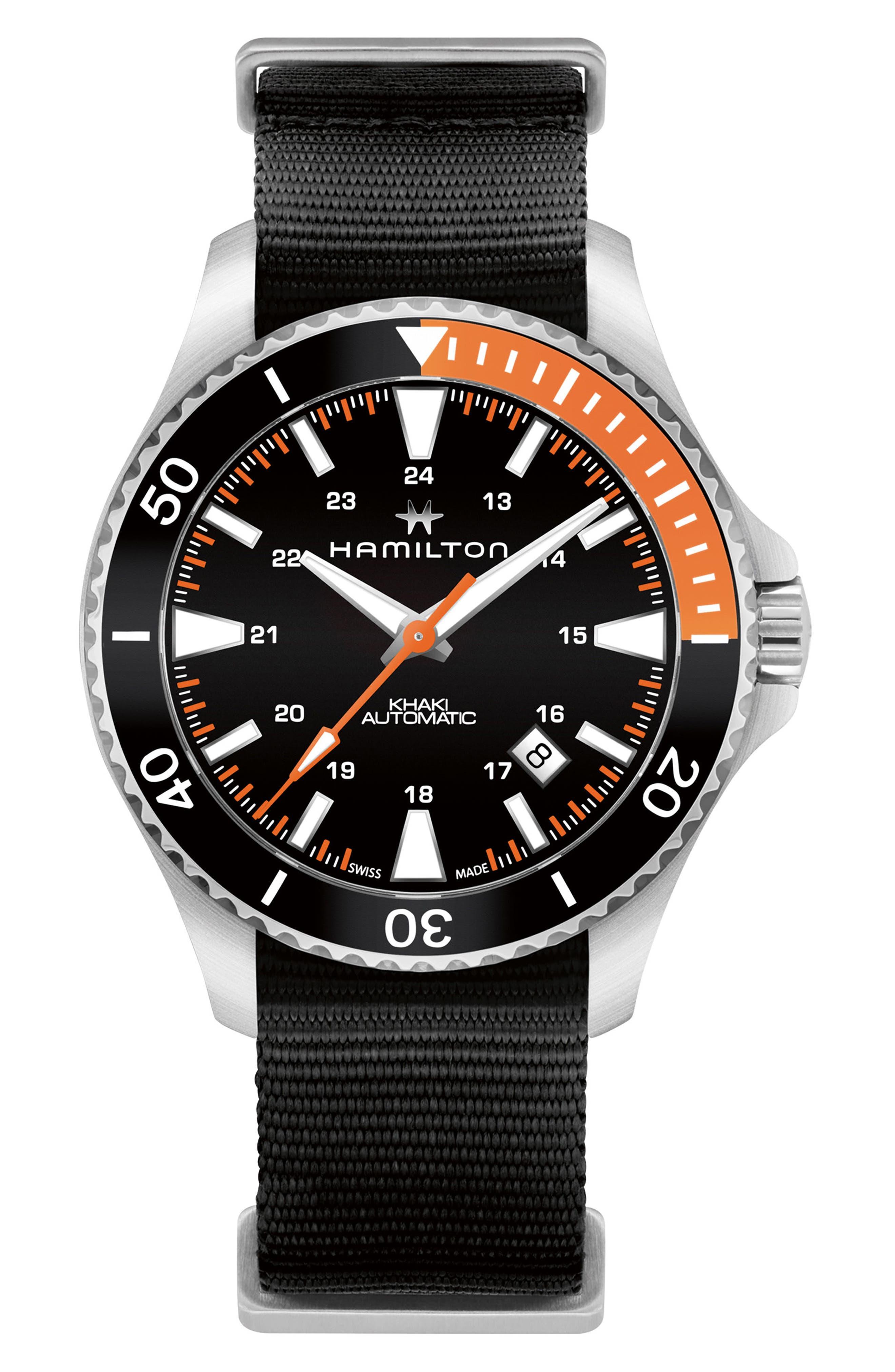 Khaki Navy Scuba Automatic Canvas Strap Watch, 40mm,                         Main,                         color, BLACK/ SILVER